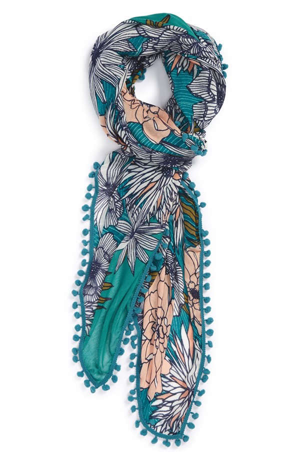 Floral Print Oblong Scarf, $38