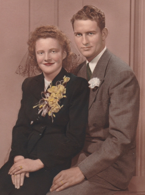 Grandma and Grandpa's wedding photo. Don't they look like movie stars?