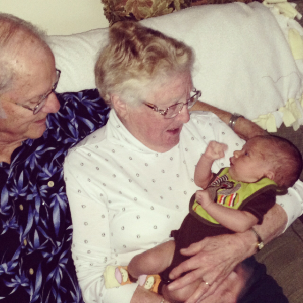 My Little Dude meeting his great-grandparents for the first time, a year and a half ago.