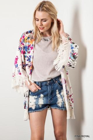 Floral Fringe Kimono, $44