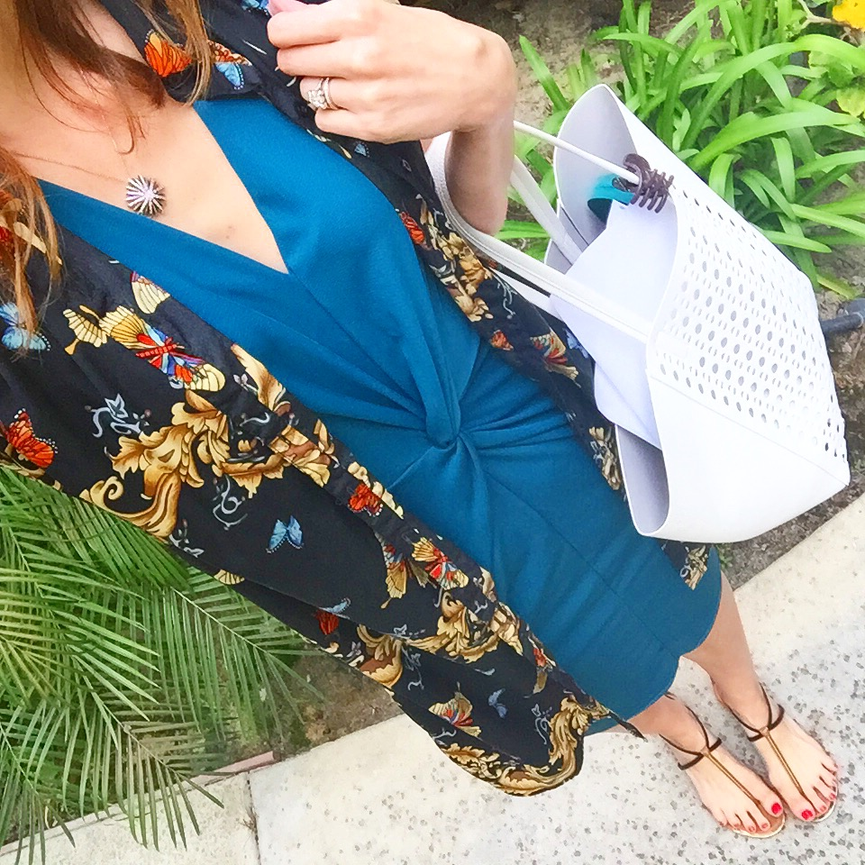 Colorful layers: a dress over a dress