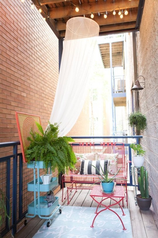 The hanging canopy is a nice touch - adds the illusion of some more privacy.  And in our case if tacked down properly, would keep toys from going over the balcony railing...