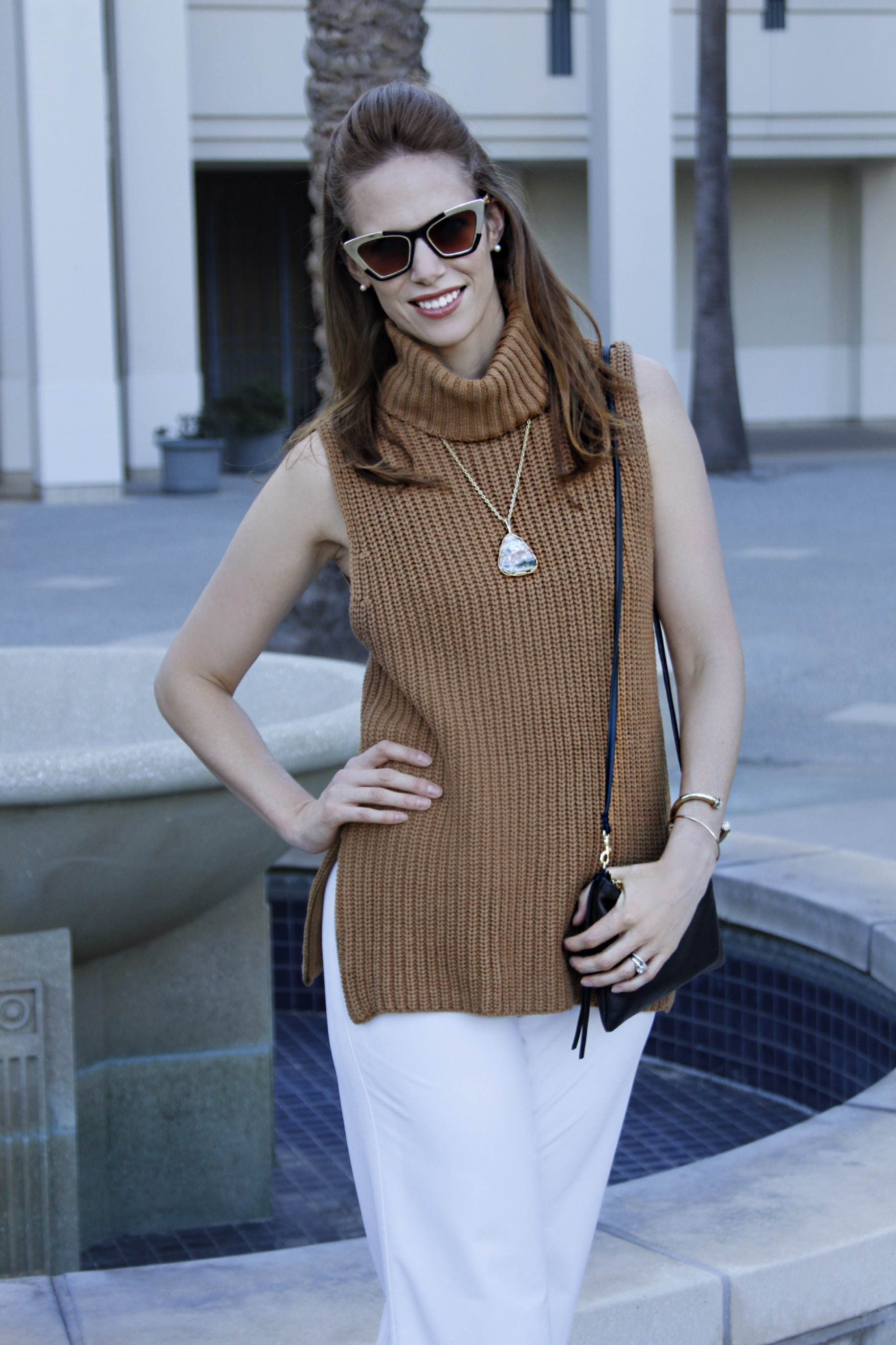 fall style chunky turtleneck retro shades