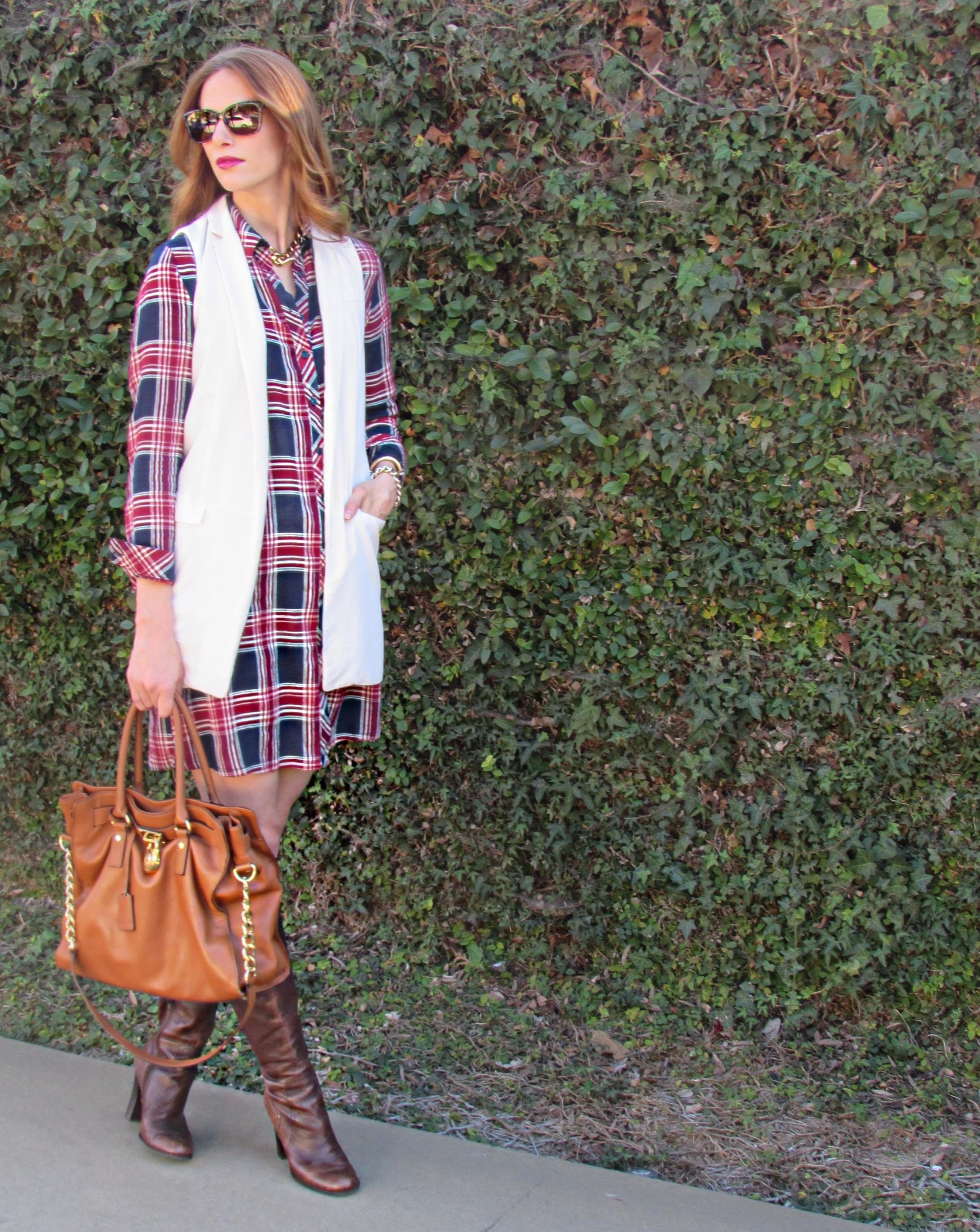 Dress ,  Similar Vest,   Similar Boots ,  Bag ,  Sunnies ,  similar necklace