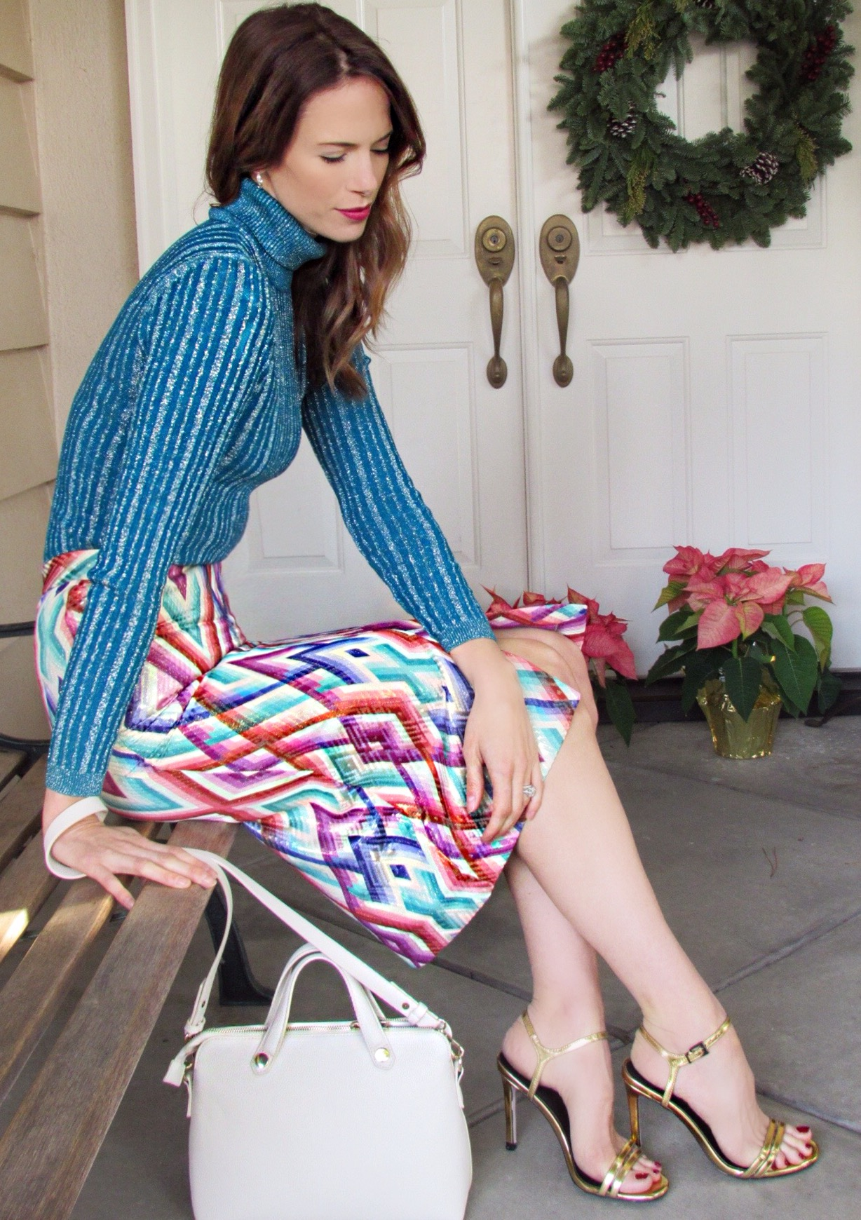 Turtleneck ,  Skirt ,  Shoes ,  Bag