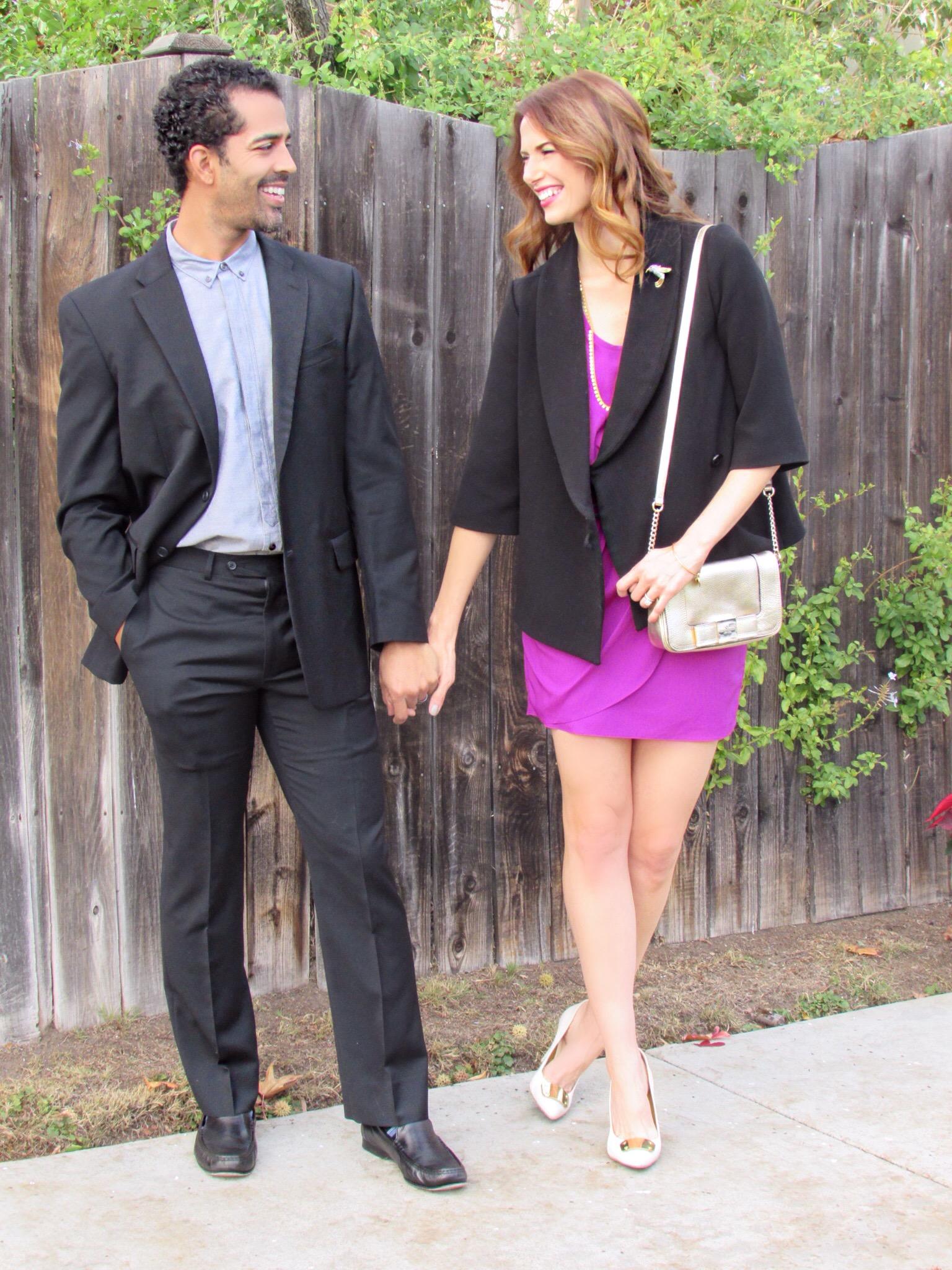 Him:  similar suit ,  similar shirt ,  shoes ; Her:  similar coat ,  similar dress ,  bag ,  necklace ,  similar shoes