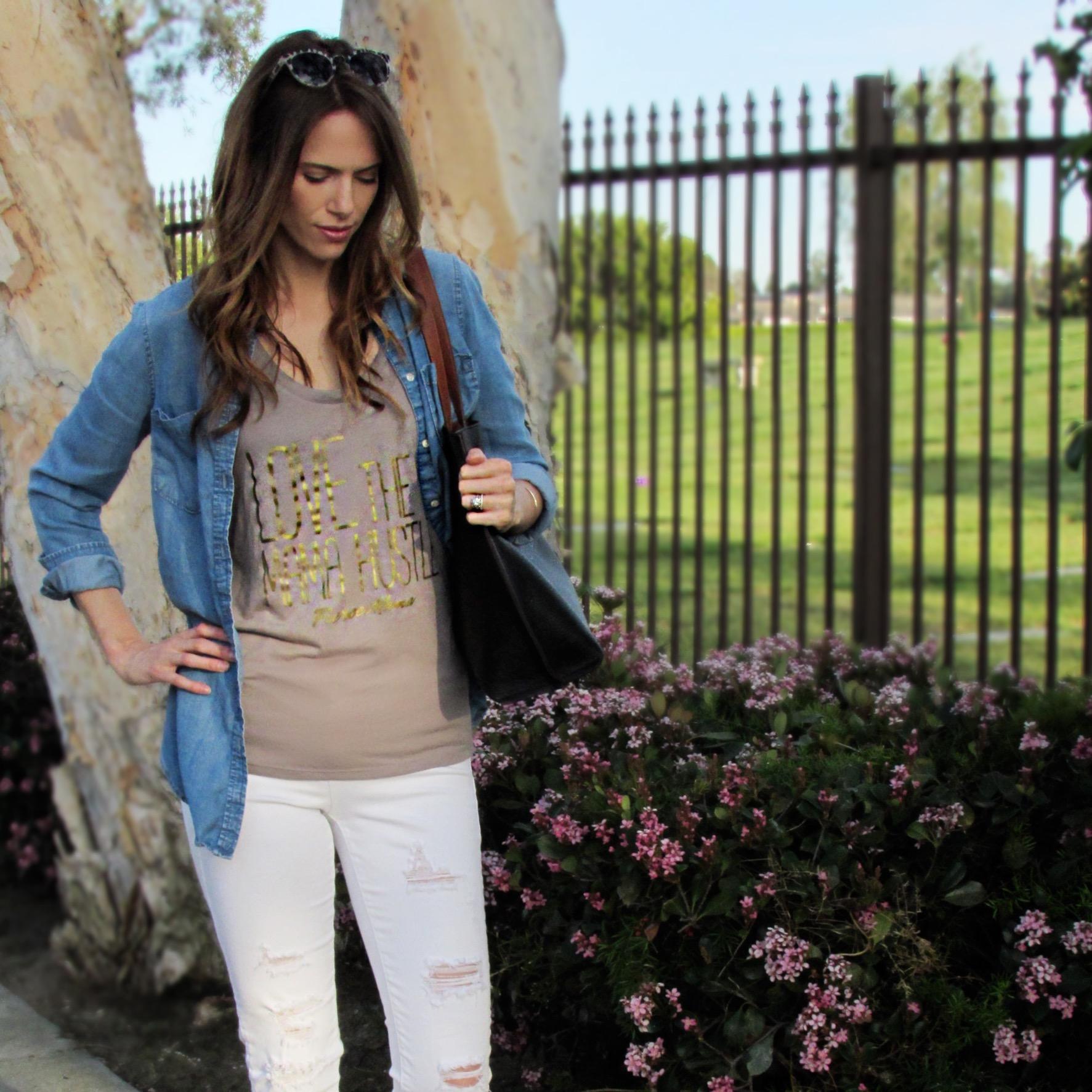 Tee: c/o  Fierce Mama Tees ,  Jeans ,  bag ,  button up