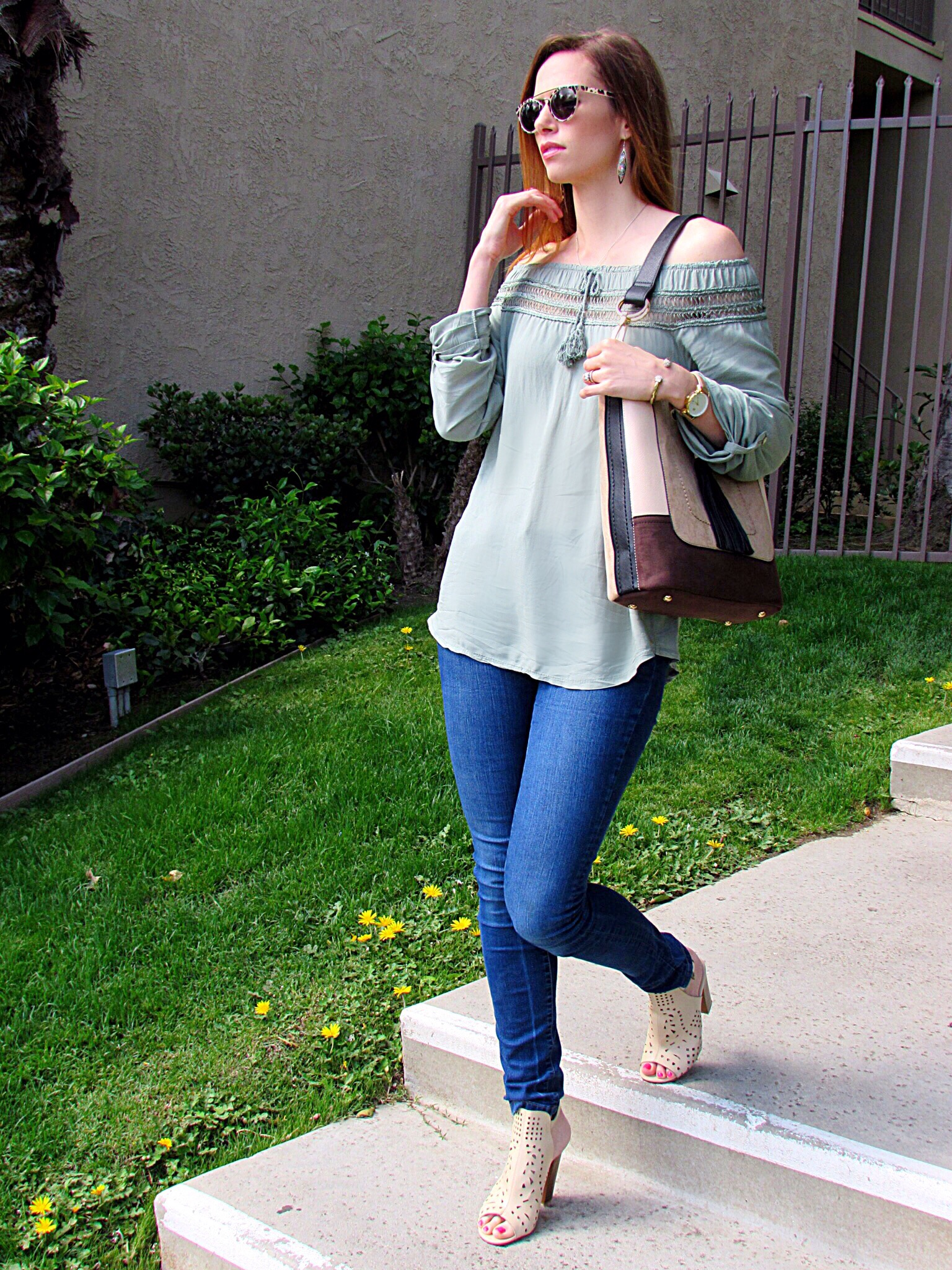 Top ,  Bag ,  Jeans ,  Shoes ,  Shades ,  Watch
