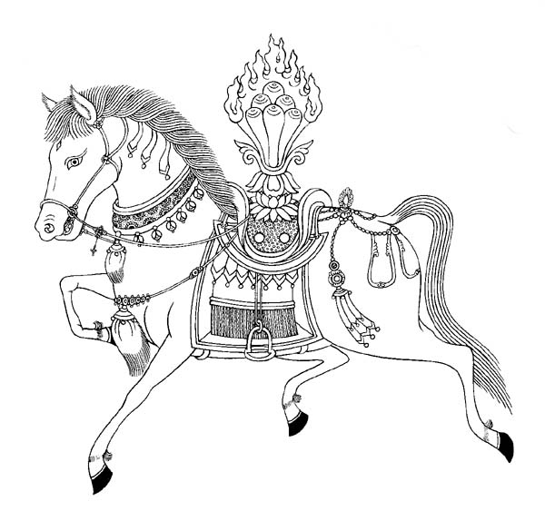 Tibetan image of a wind Horse