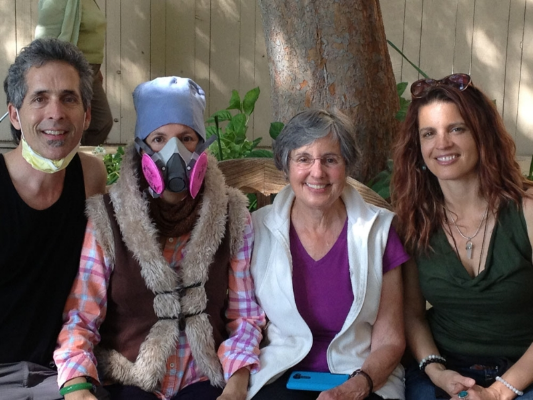 April, 2014: Andy, Deb, Mary Lou & I after Deb's bone Marrow transplant at Stanford