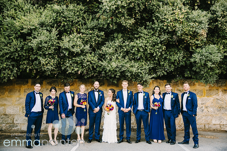 Limestone wall in fremantle bridal party photo