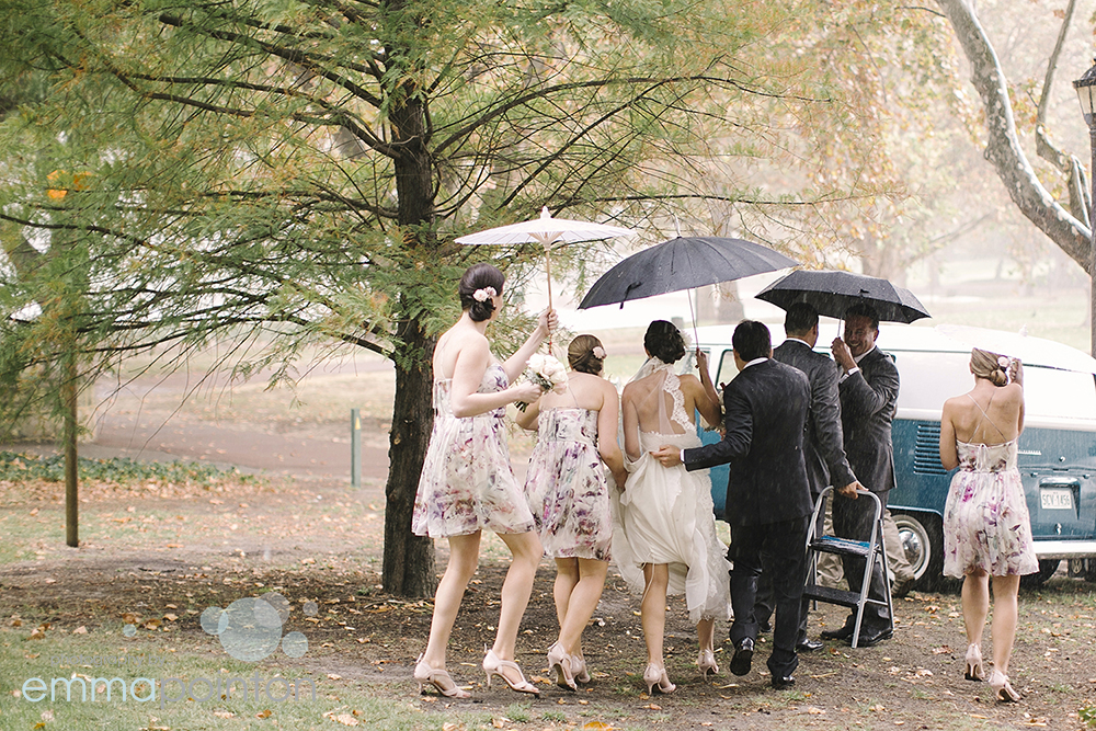 Running to the car in the rain at Hyde Park wedding