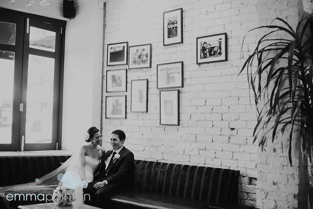Megan & James utilised the Five Bar for wedding photos after escaping rain in Hyde Park