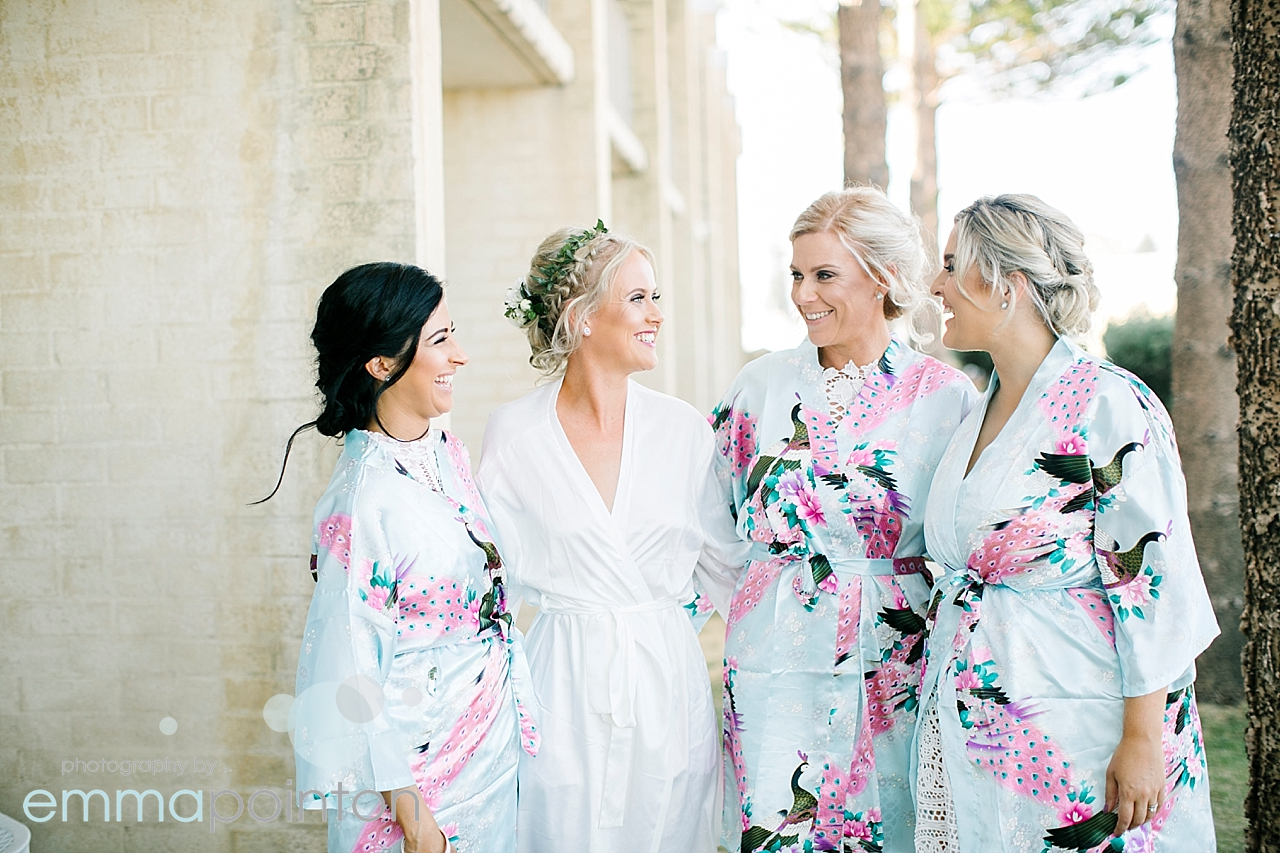bride & bridesmaids in dressing gowns