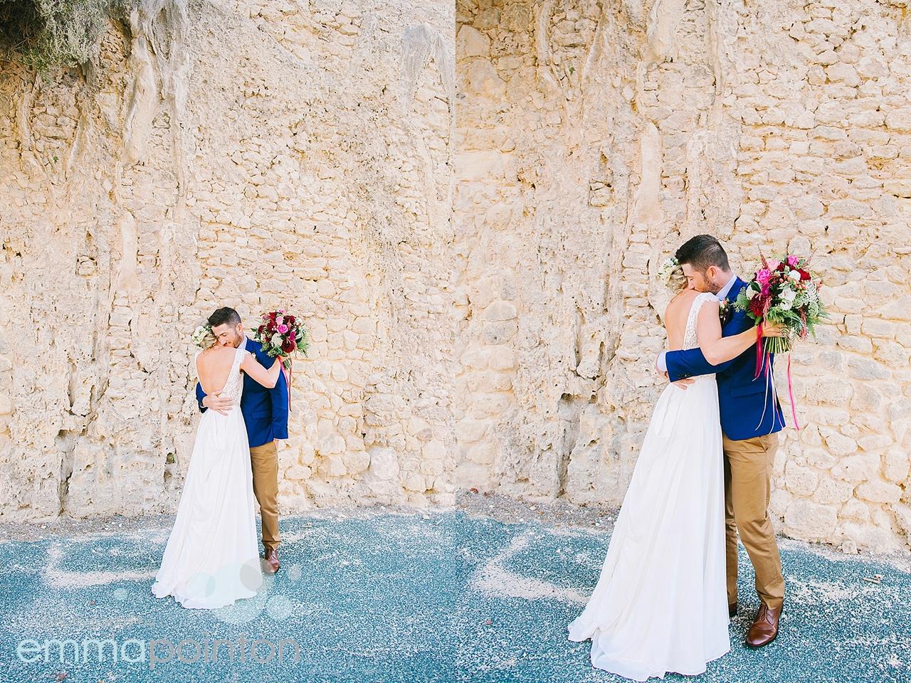 bride & groom first look in Fremantle