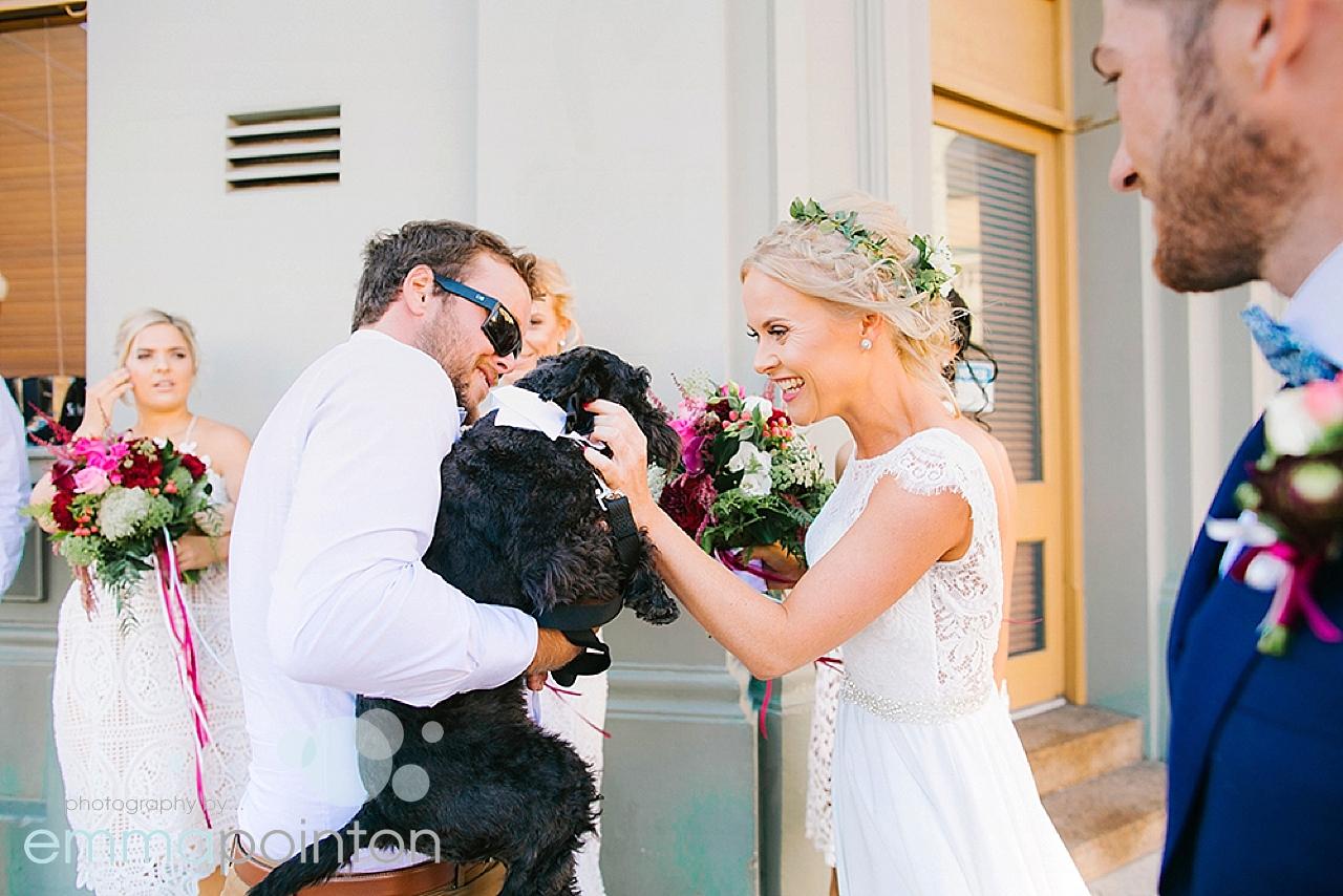 Furry child at wedding