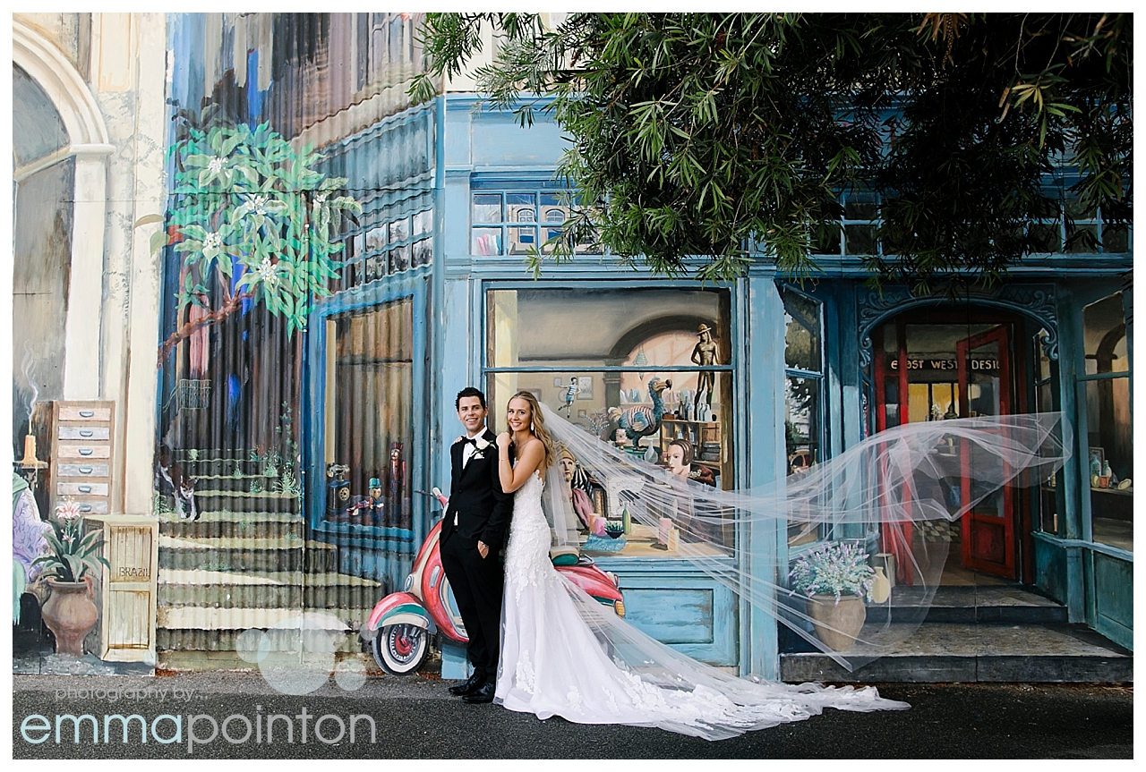 Bride & Groom in front of East West Design, Fremantle