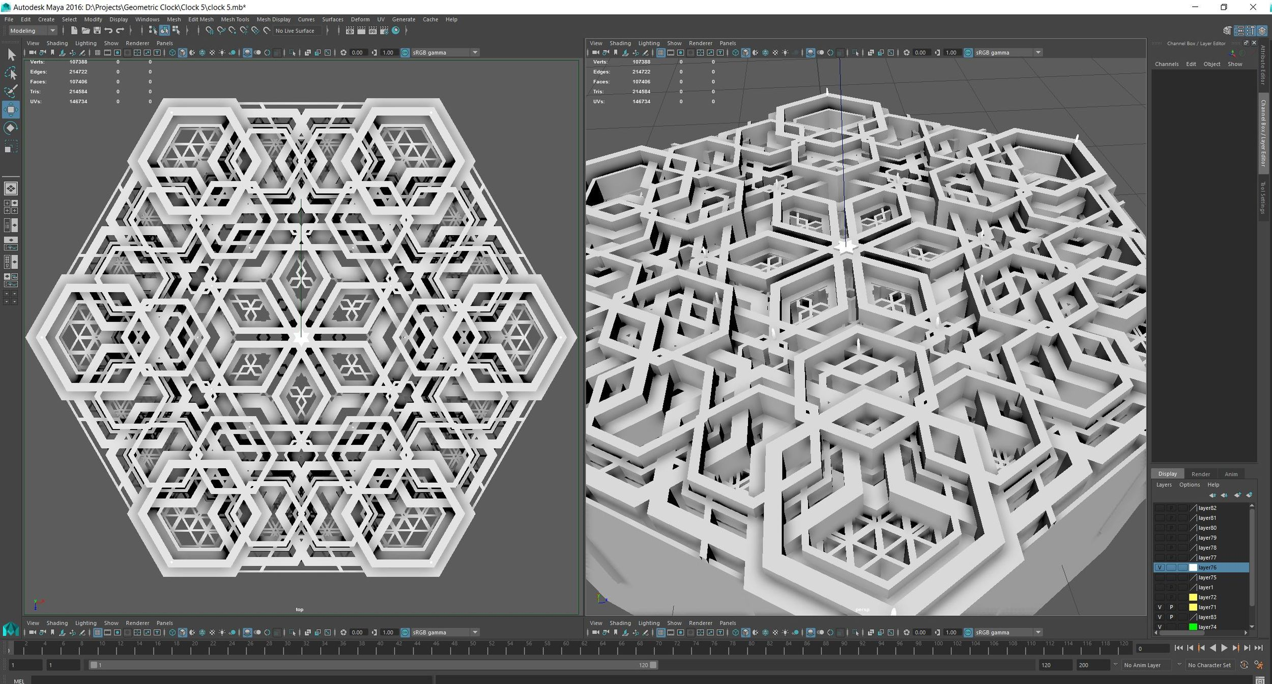 Geometrically harmonious modular pieces are designed in 3d modelling software