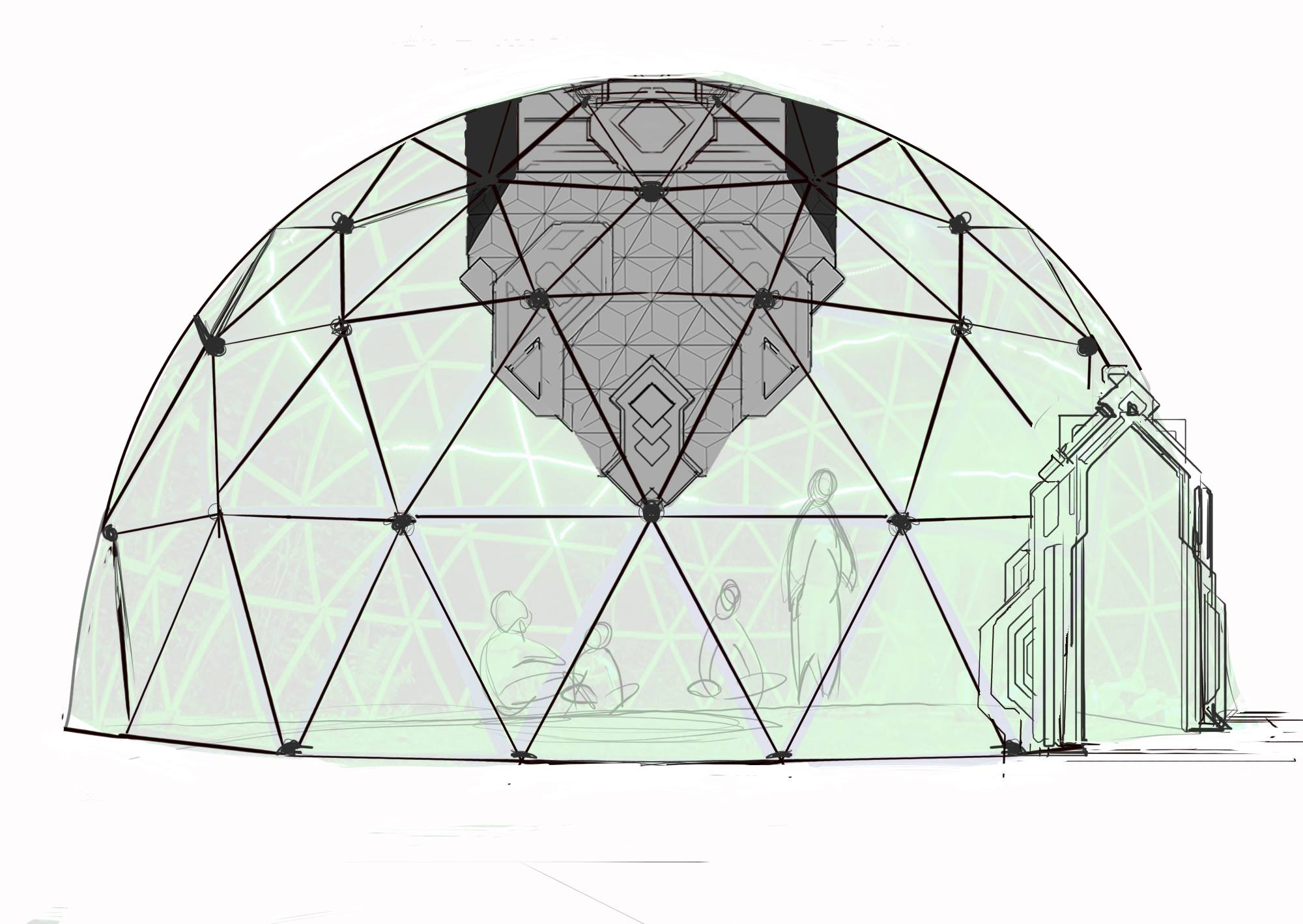 Dome concept with hanging LED lamp structure