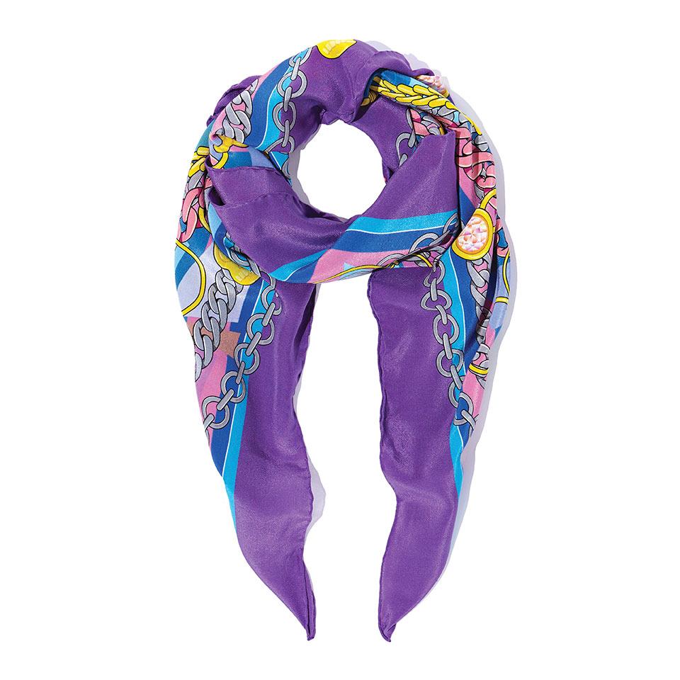 Silk Square - The French Bulldog Silk Crepe De Chine Square in Purple90cm x 90cm