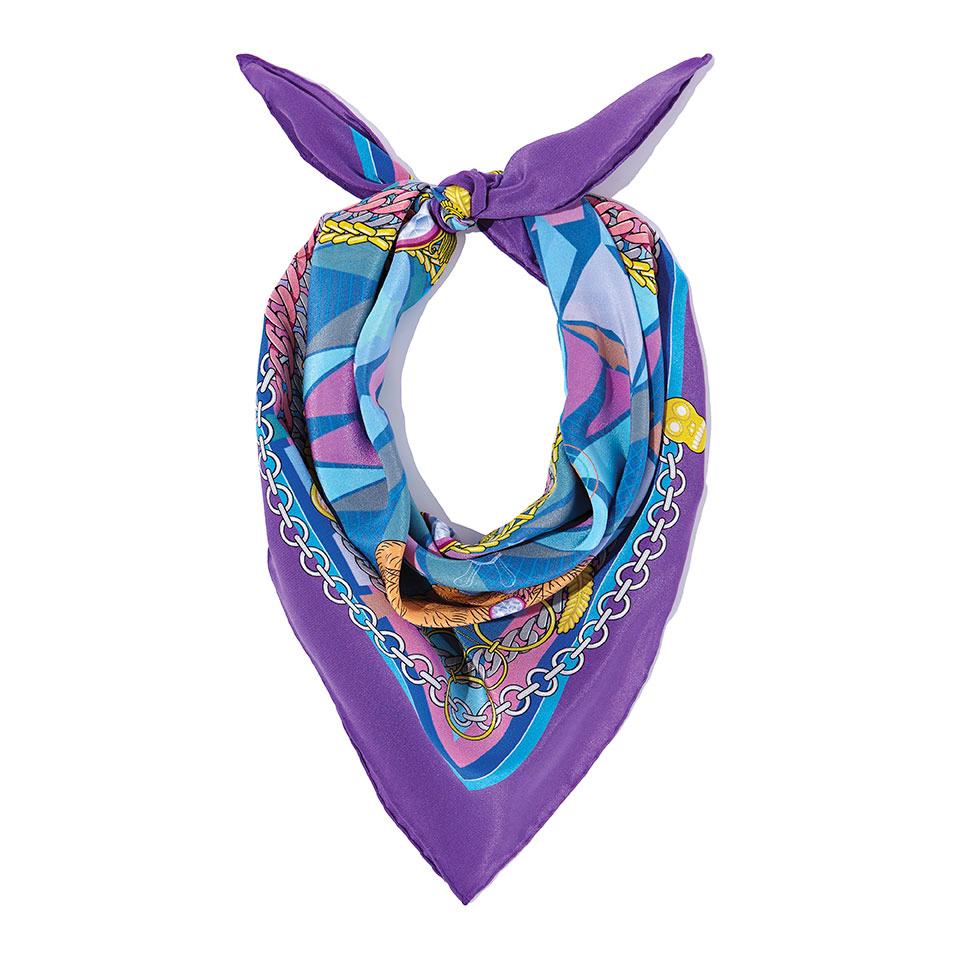 Silk Neckerchief - The French Bulldog Silk Crepe De Chine Neckerchief in Purple60cm x 60cm