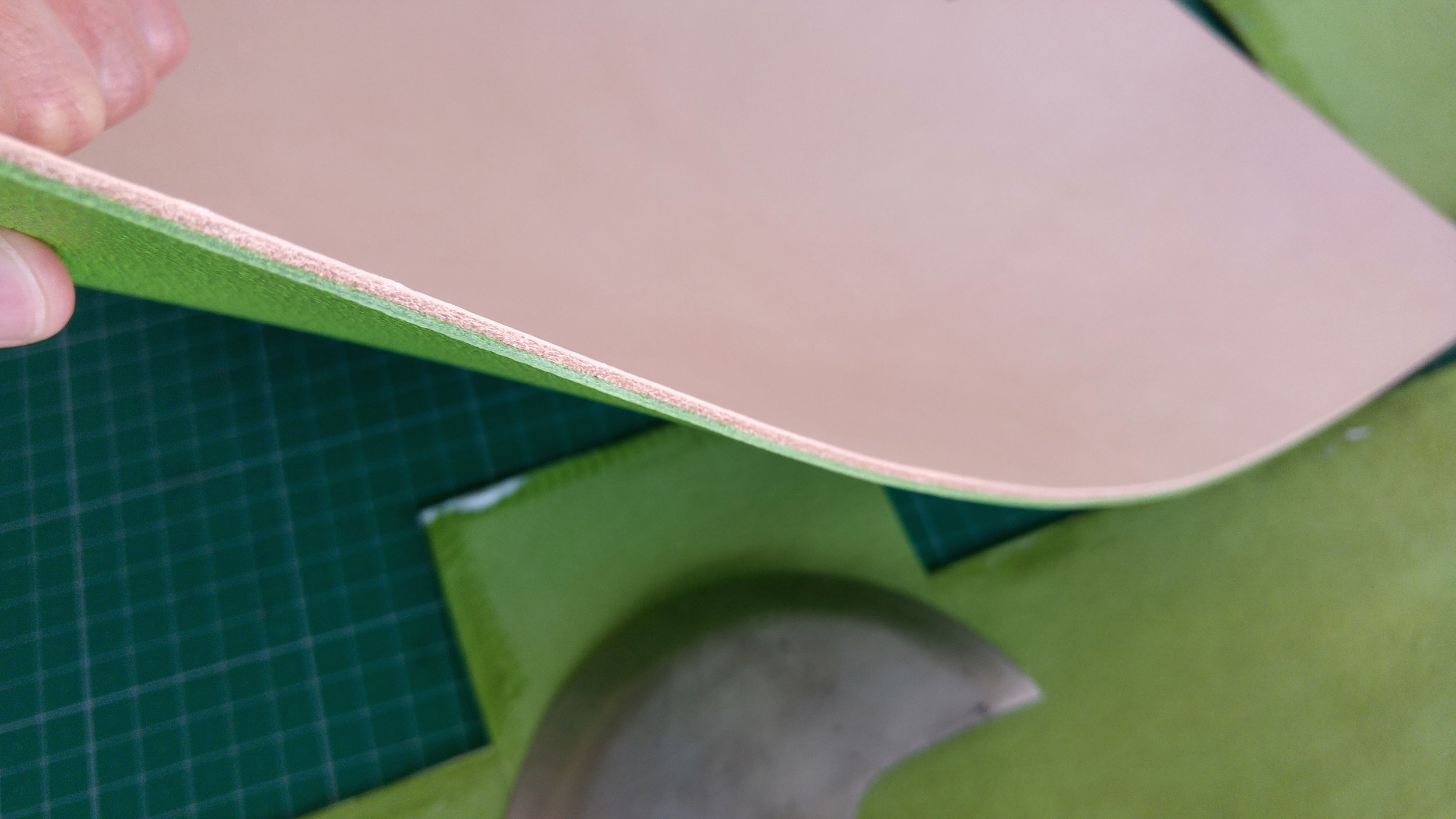 Neat glued surface with no visible glue line. This is critical for that clean burnish. The edge on this piece will be painted but it's good to know what is underneath that paint.