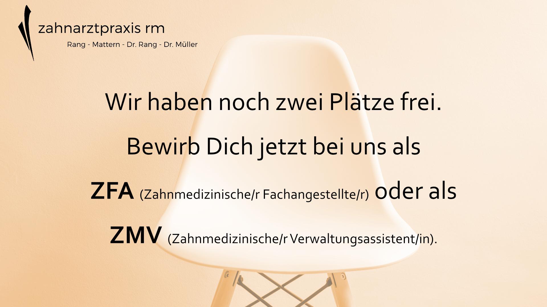 ZFA ZMV Zahnarztpraxis RM Hannover Stellenanzeige