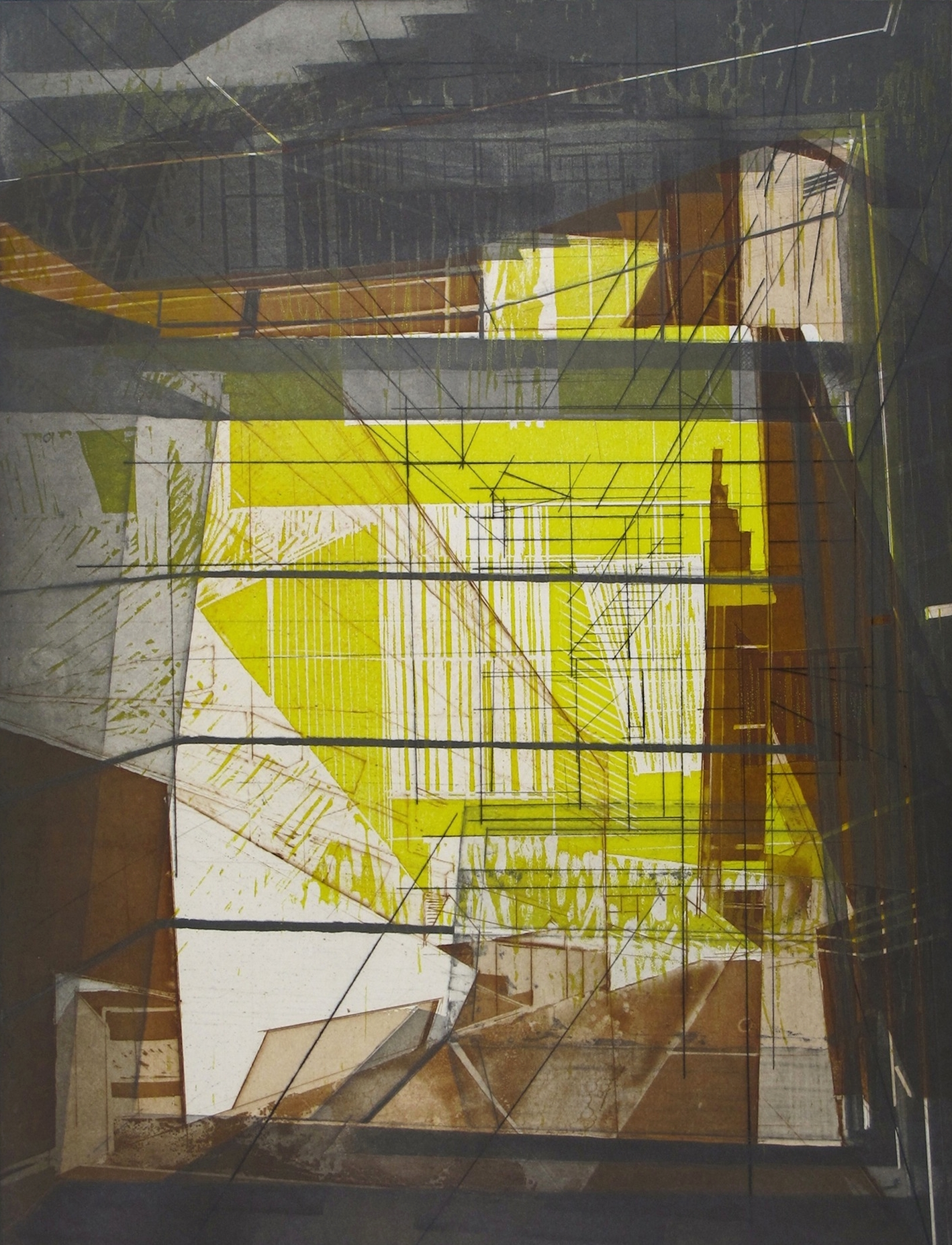 """Architectural Possibles 24   intaglio and woodcut  on Pescia paper  images size: 24x18""""  2014"""