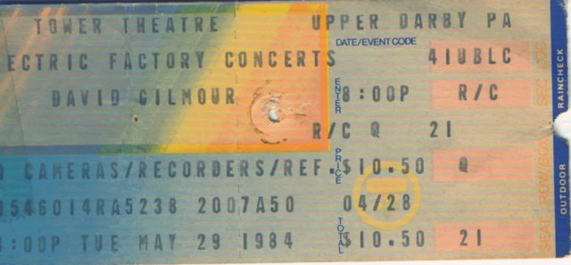 May 29, 1984 – David Gilmour - Tower Theatre