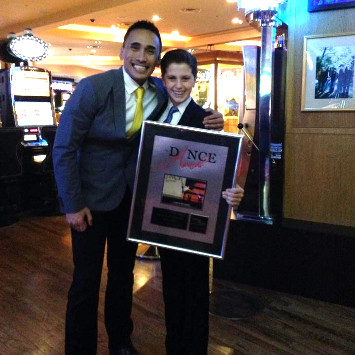 Carter Williams with Francisco Gella after winning the Junior Male Best Dancer Award in Las Vegas