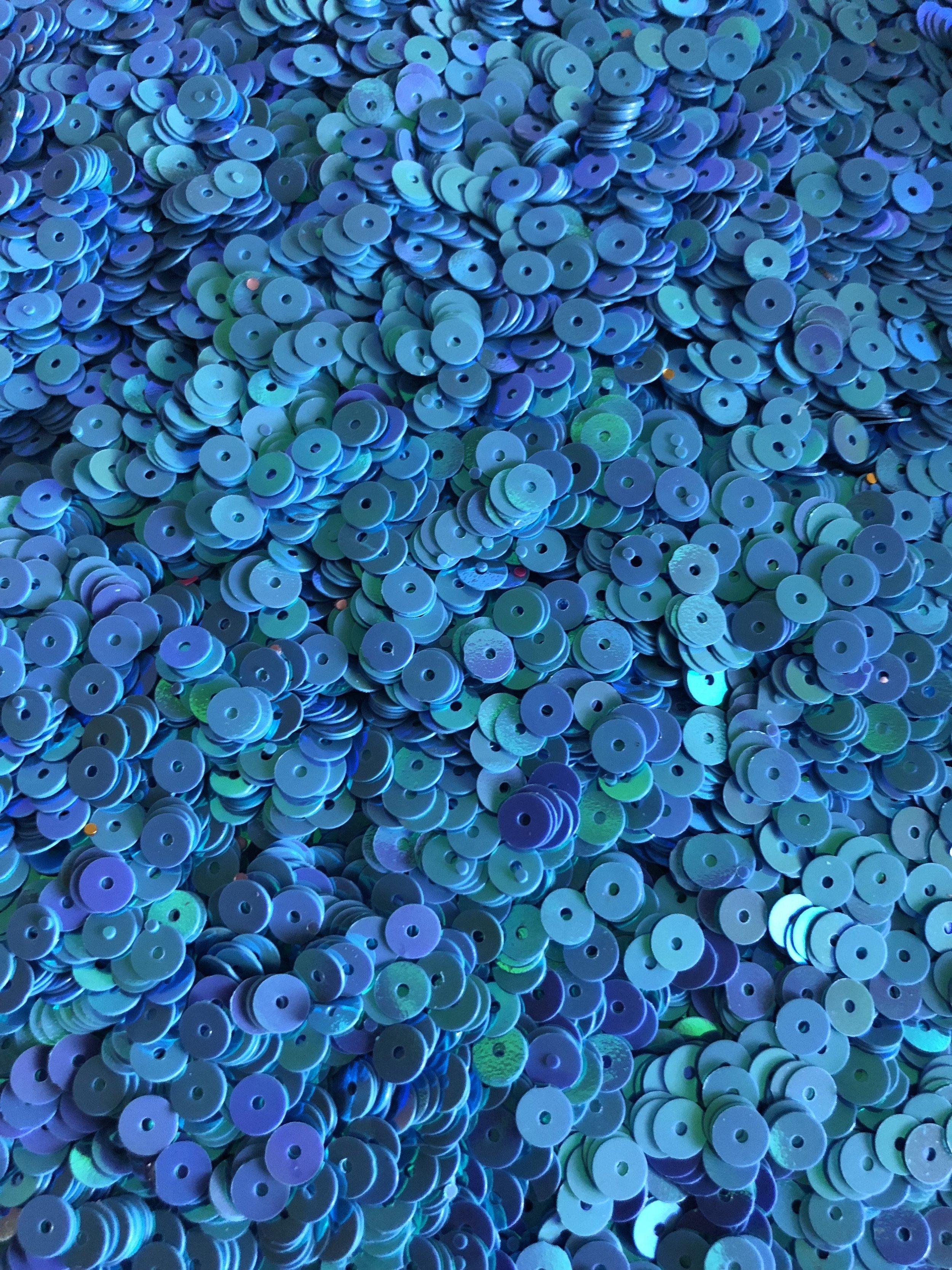 5mm Flat Sequins Iridescent Light Blue/Lavender - Bulk Loose Sequins (1/4 Pound)