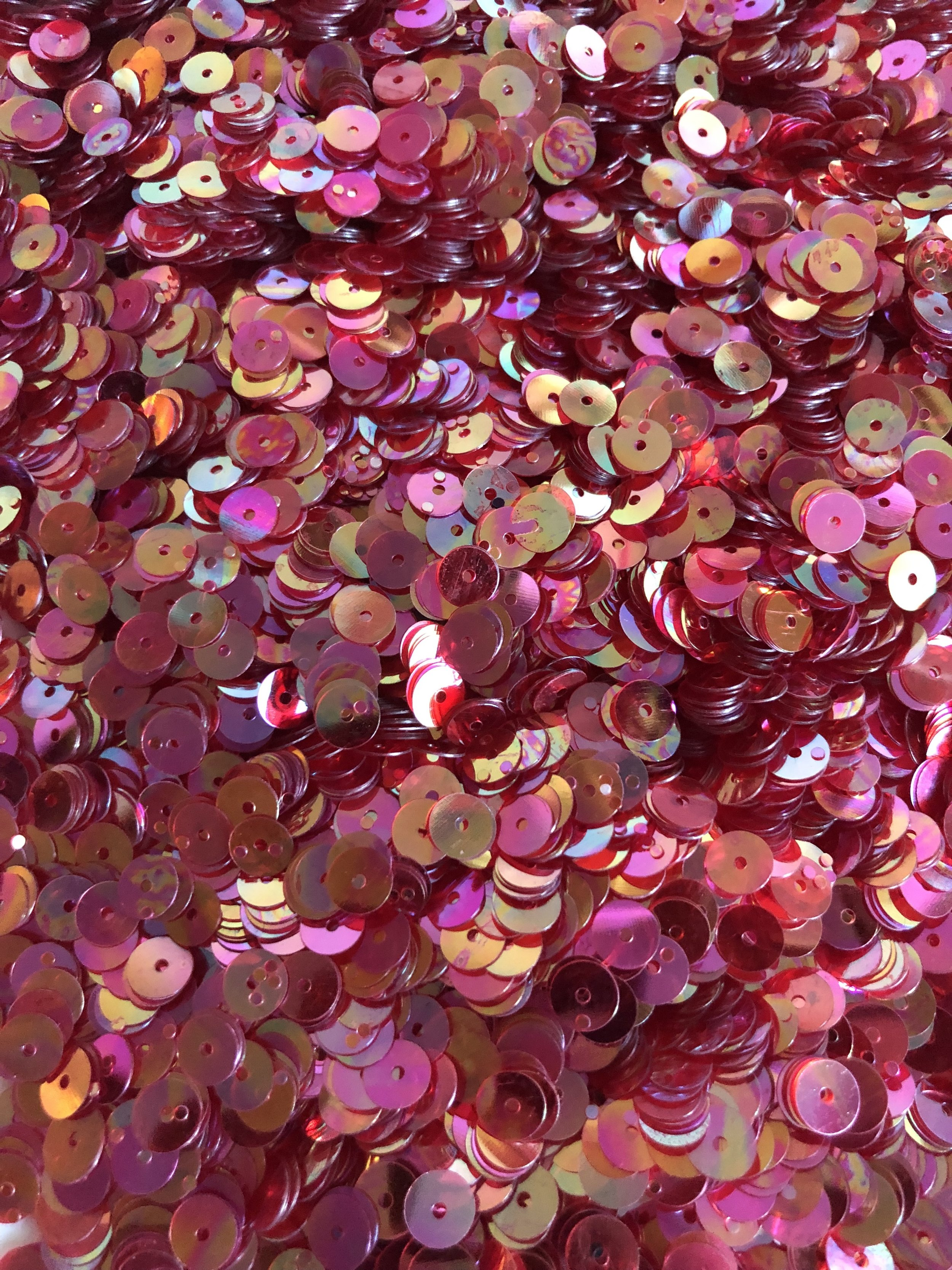 6mm Flat Sequins Iridescent Red/Yellow - Bulk Loose Sequins (1/4 Pound)
