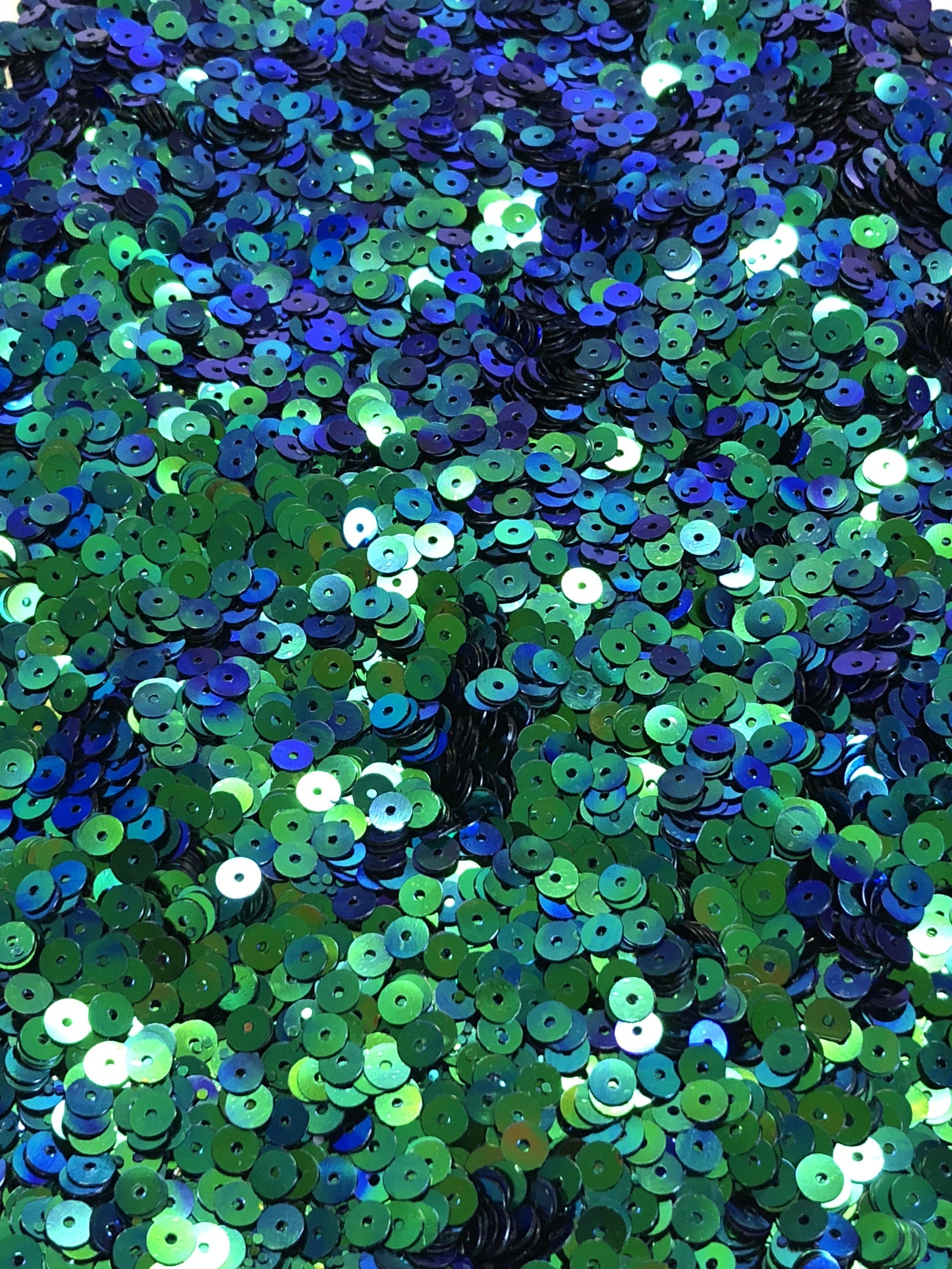 5mm Flat SequinsIridescent Emerald Green/Royal Blue - Bulk Loose Sequins (1/4 Pound)