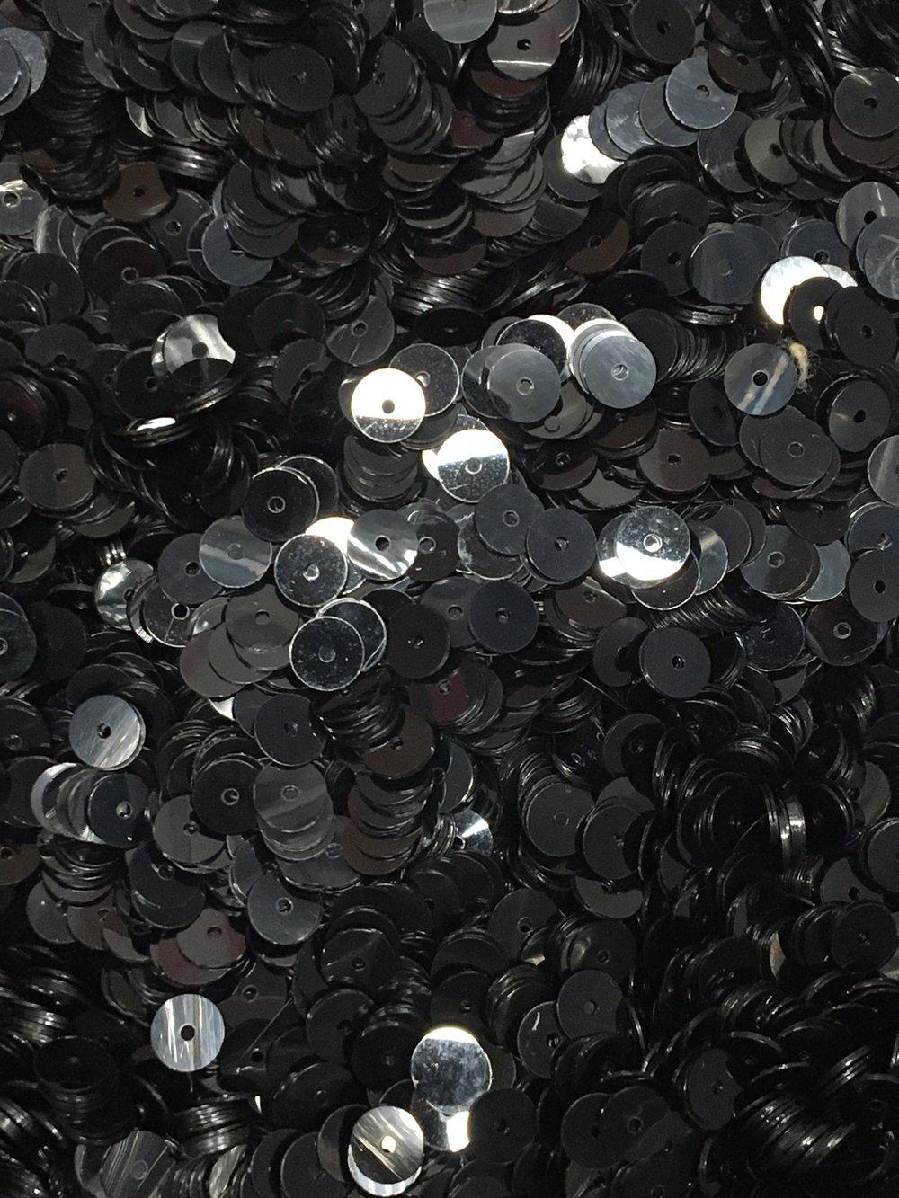 6mm Flat SequinsShiny Black - Bulk Loose Sequins (1/4 & 1/2 Pound)