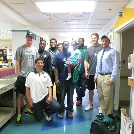 Current, Former Tulane Student-Athletes and New Orleans Saints players Bring Smiles to Faces of Patients at Tulane Hospital for Children  — May 6, 2014