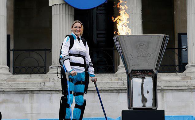 Paralyzed marathon participant Claire Lomas lit the Paralympic cauldron in Central London, 2012