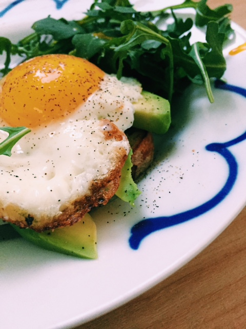 (frittata I made did not photograph well so these are pictures of a different on-the-fly-lunch. Avocado and runny fried eggs.)