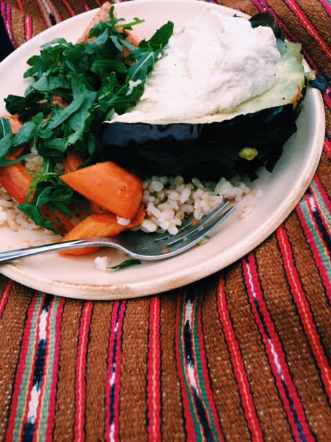 Later, on making this again, we ate the eggplant with roasted salmon, brown rice, sweet potatoes and arugula.