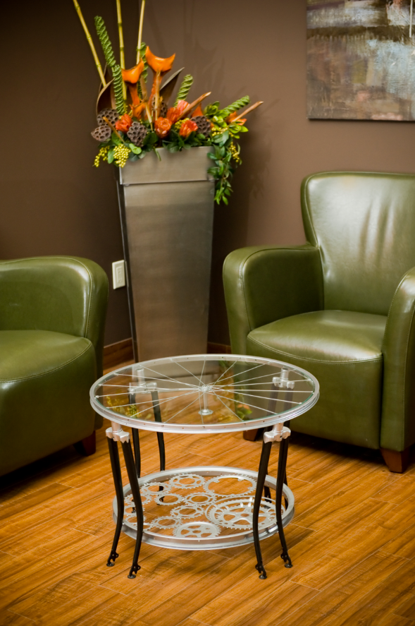 Trim, elegant, and gorgeously sustainable, this coffee table is built entirely from bicycle parts.