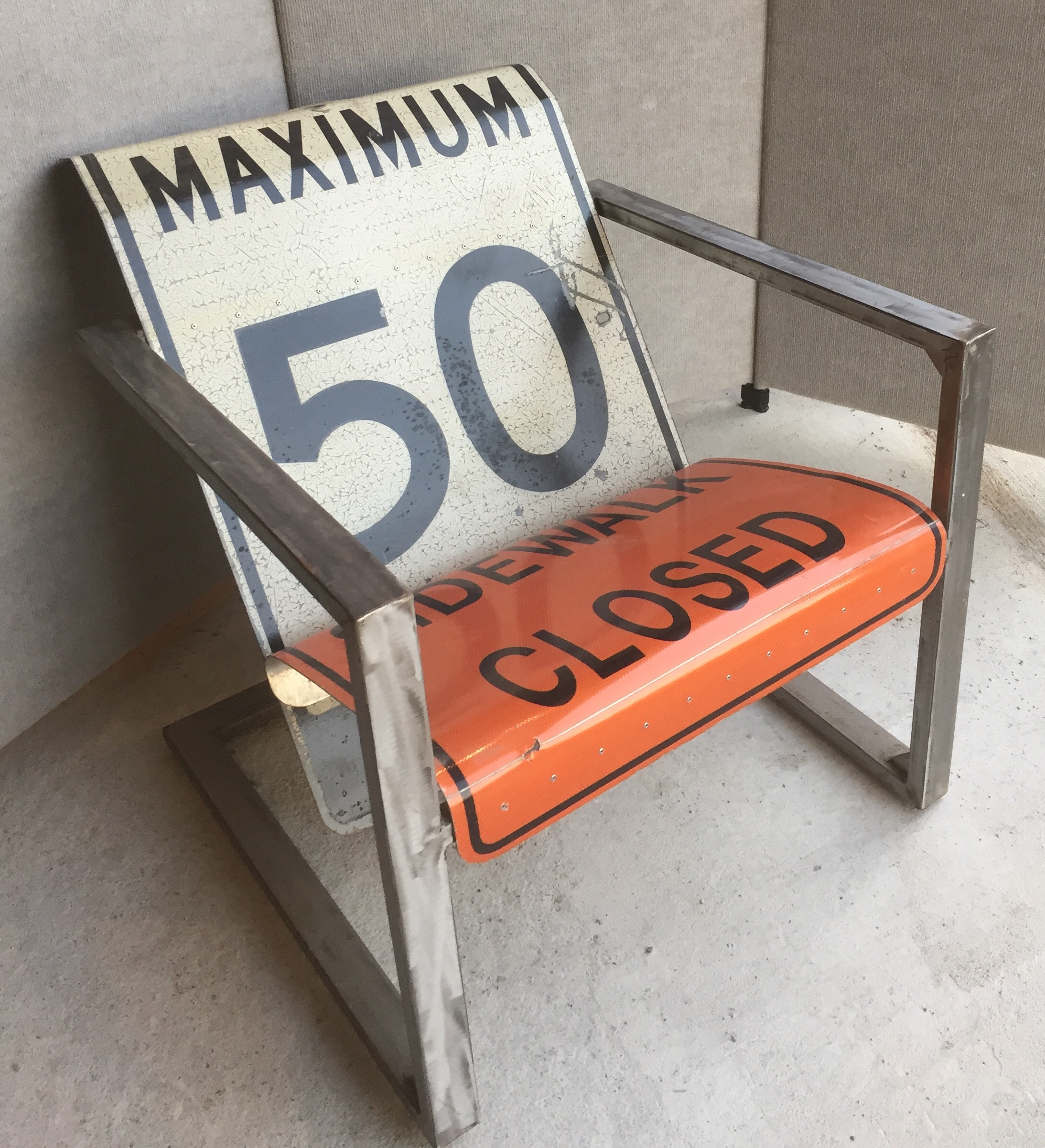 """Making steel road signs comfortable is all about getting the right angles. 1x2"""" square steel tubing frame can also be done in stainless"""