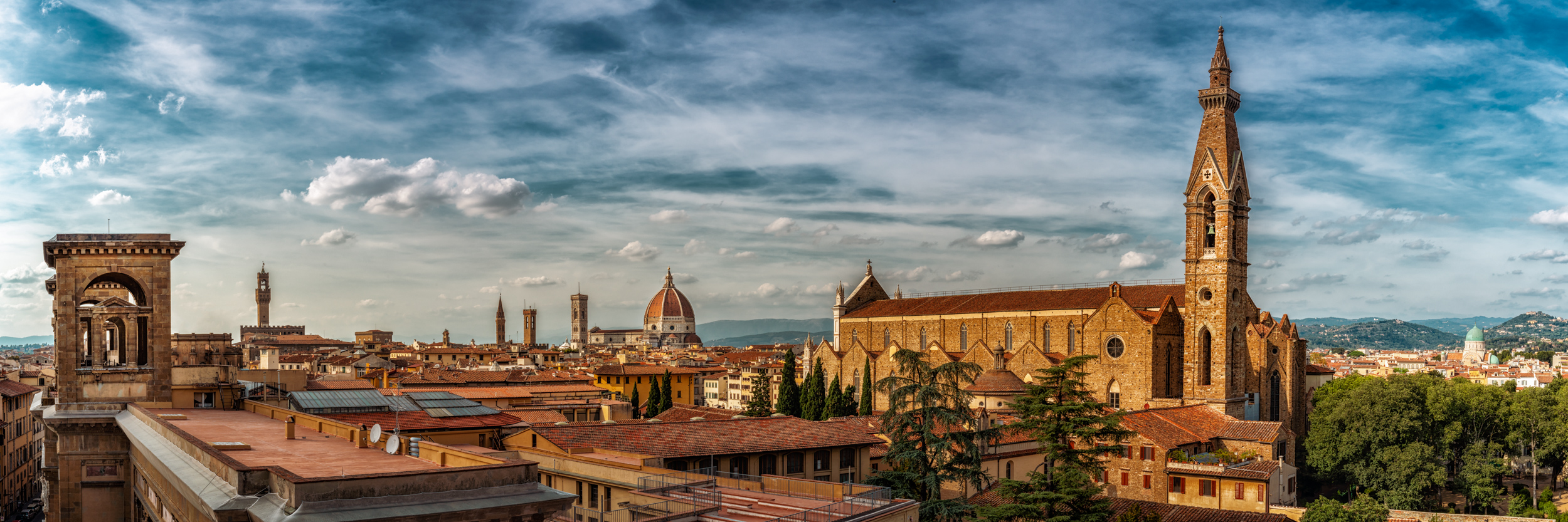 City of Florence from rooftop bar at Plaza Hotel Lucchesi