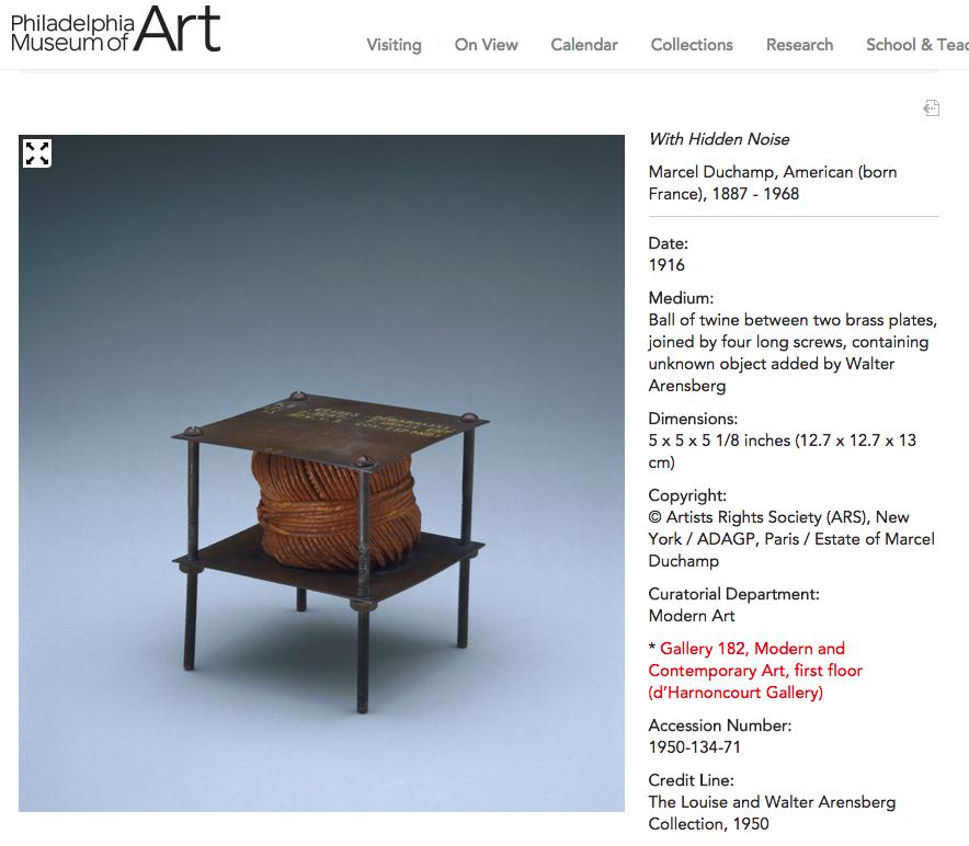Duchamp's With Hidden Noise at the Philadelphia Museum of Art