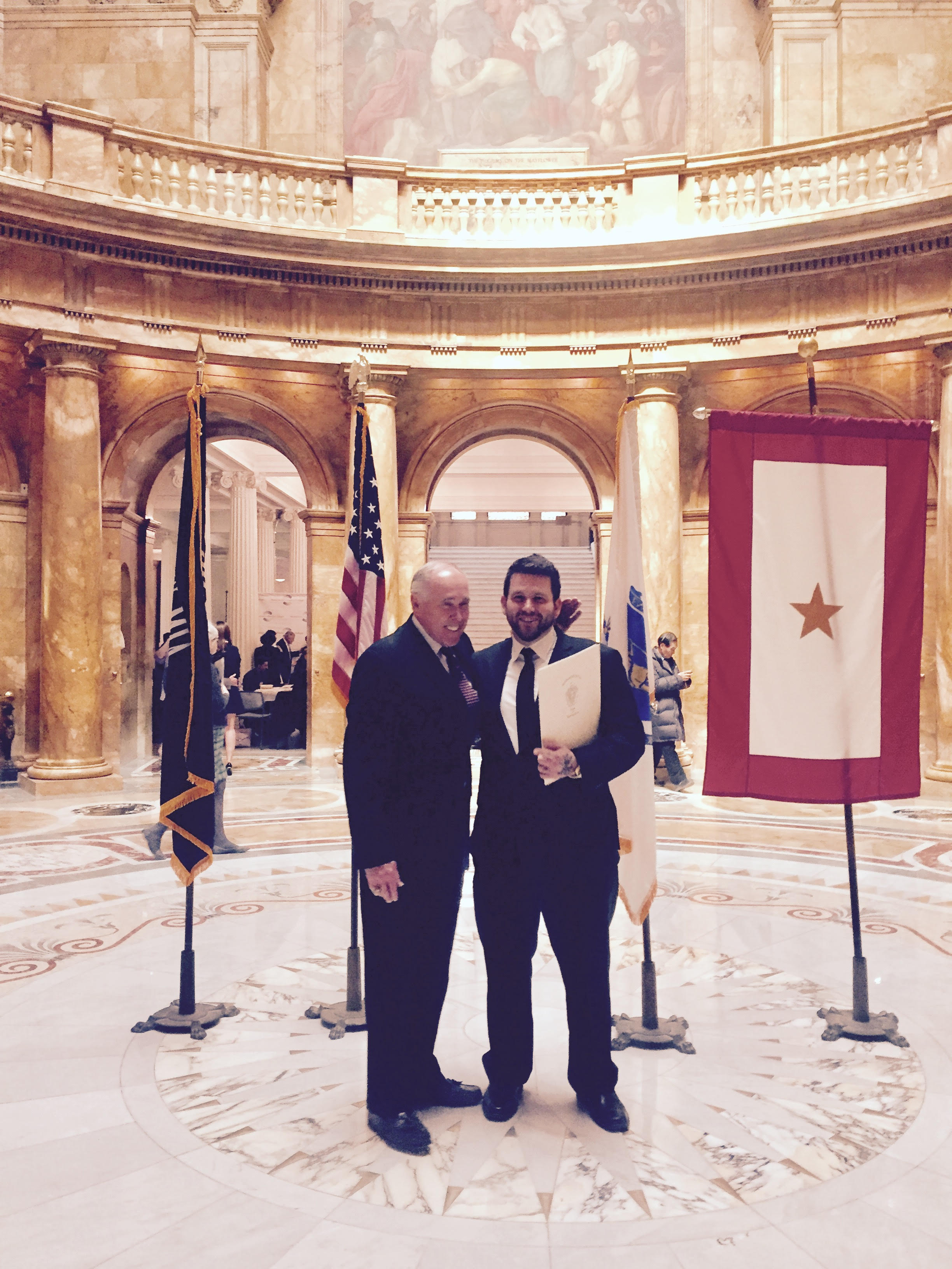 Anton and his father in the Hall of Flags at the Massachusetts State House March 30th 2017.