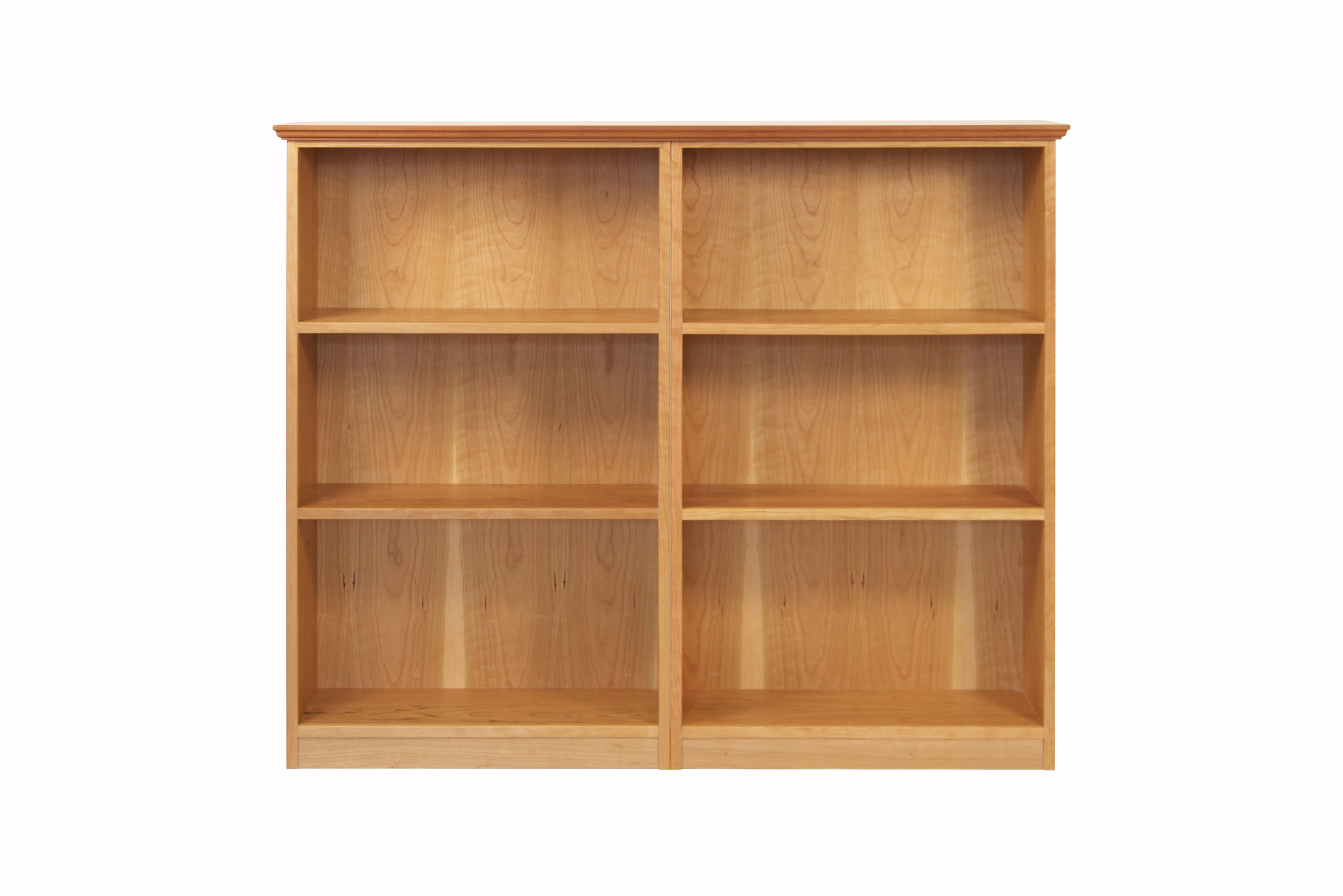 3-Space Bookcase Set in Cherry with Ogee Top