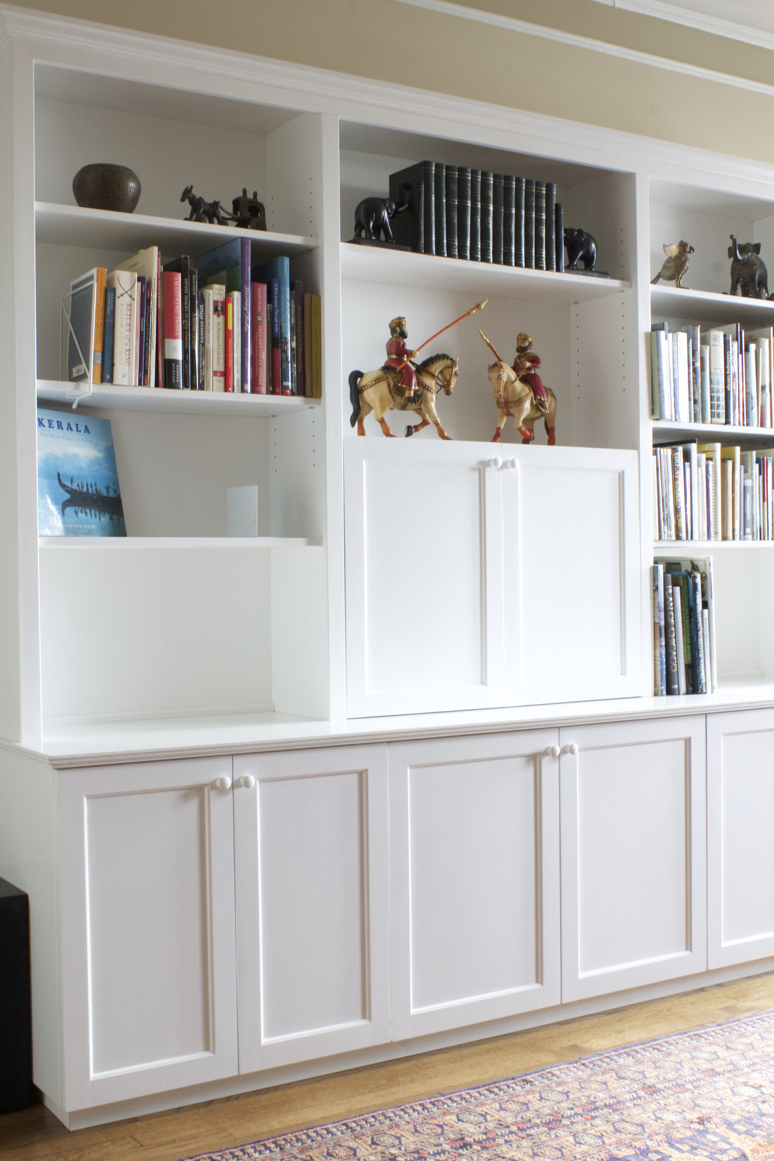 Painted White Cabinets with Hutch Shelving