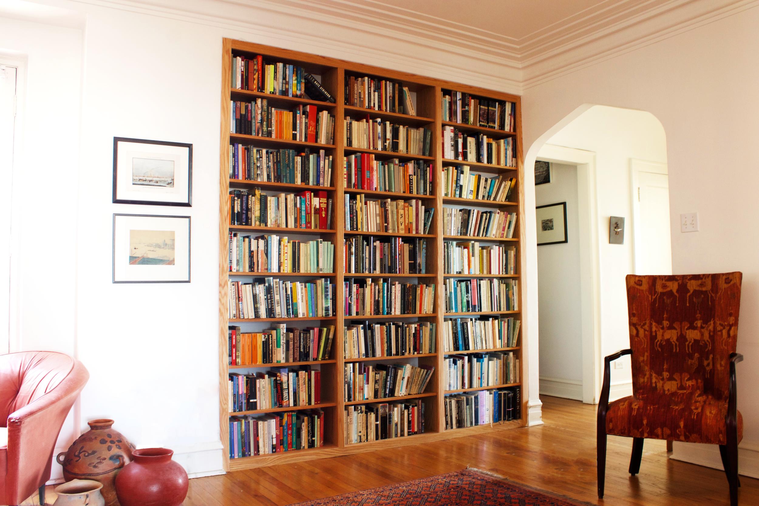 Built-in Bookcases in Alcove in Natural Oak