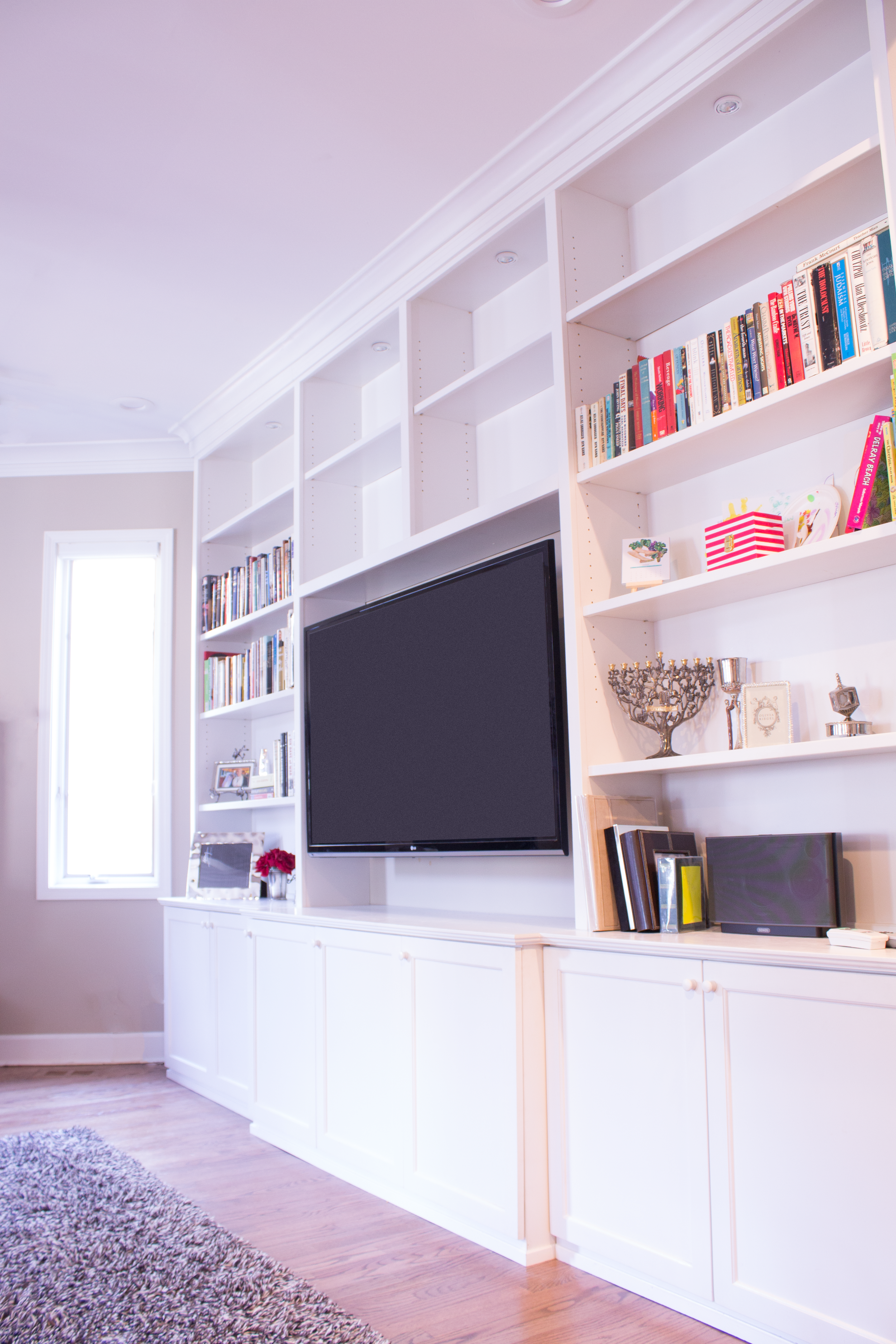 Contemporary Built-in Media System in White