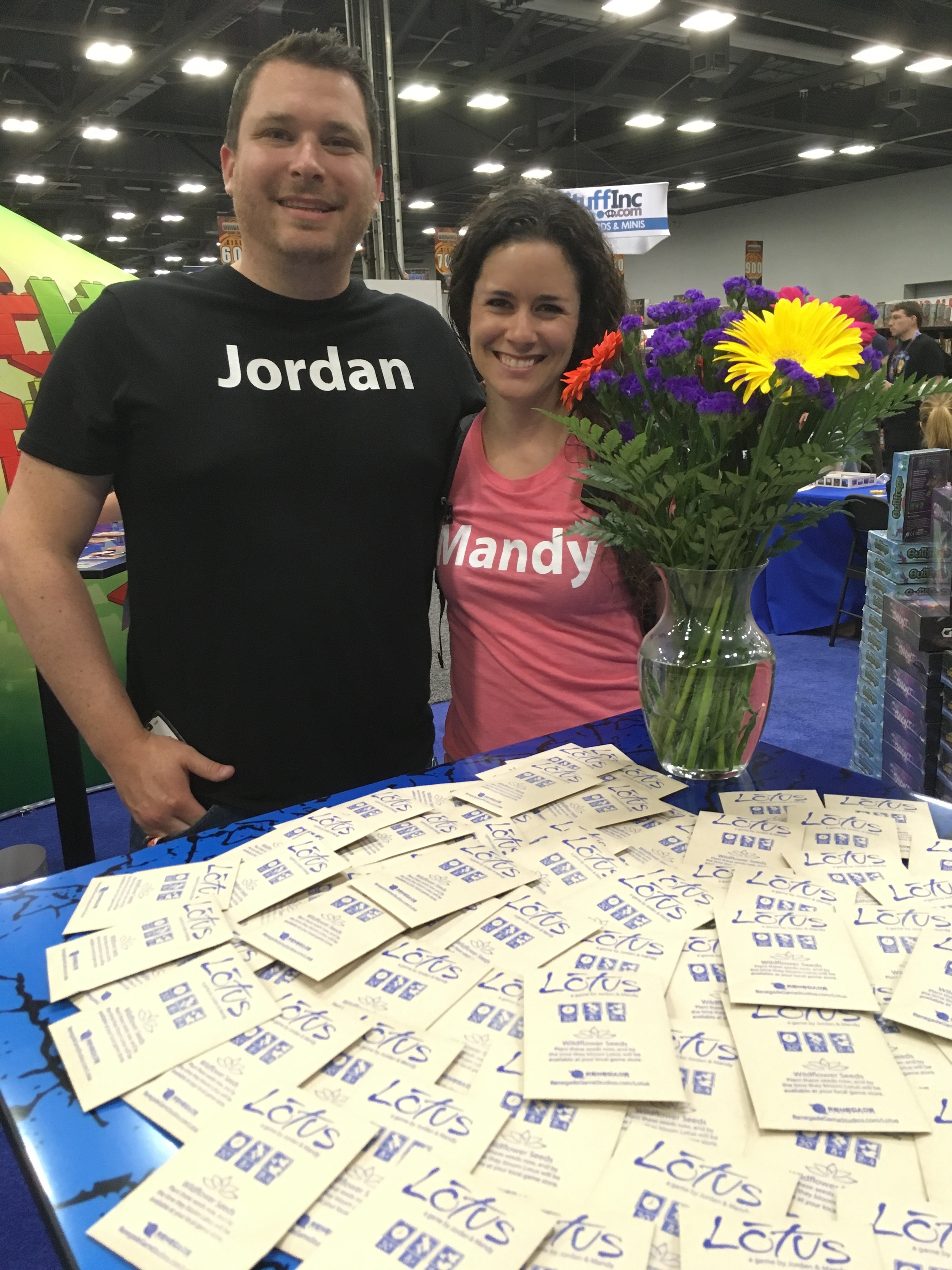 Jordan & Mandy with their wildflower packets to promote the upcoming game Lotus! Over 900 people got some flowers to plant.