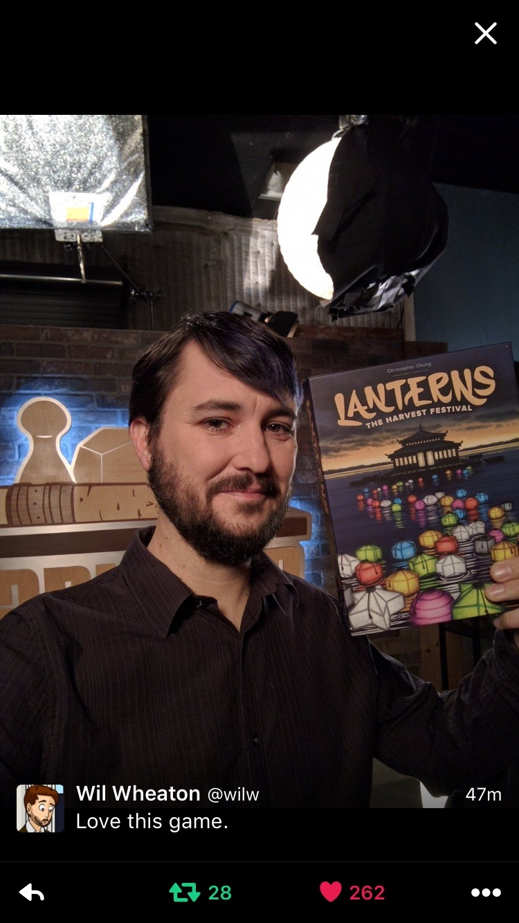 Wil Wheaton & Lanterns on Twitter the day of the episodes recording.