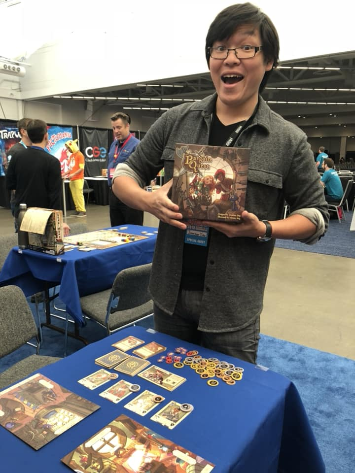 Jonathan Ying, designer of Bargain Quest, excited to play!